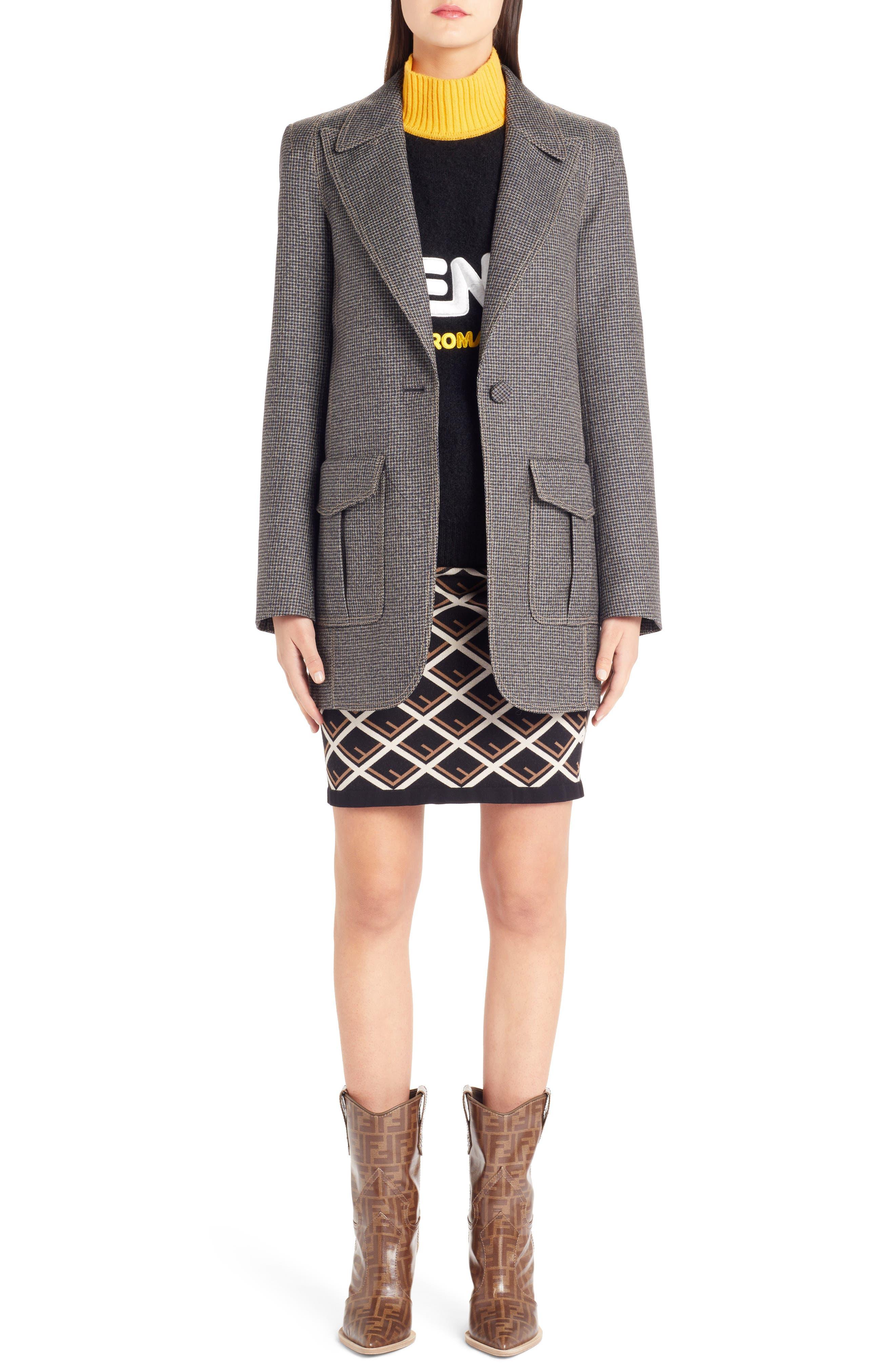 Sport Logo Wool & Cashmere Turtleneck Sweater,                             Alternate thumbnail 6, color,                             BLACK