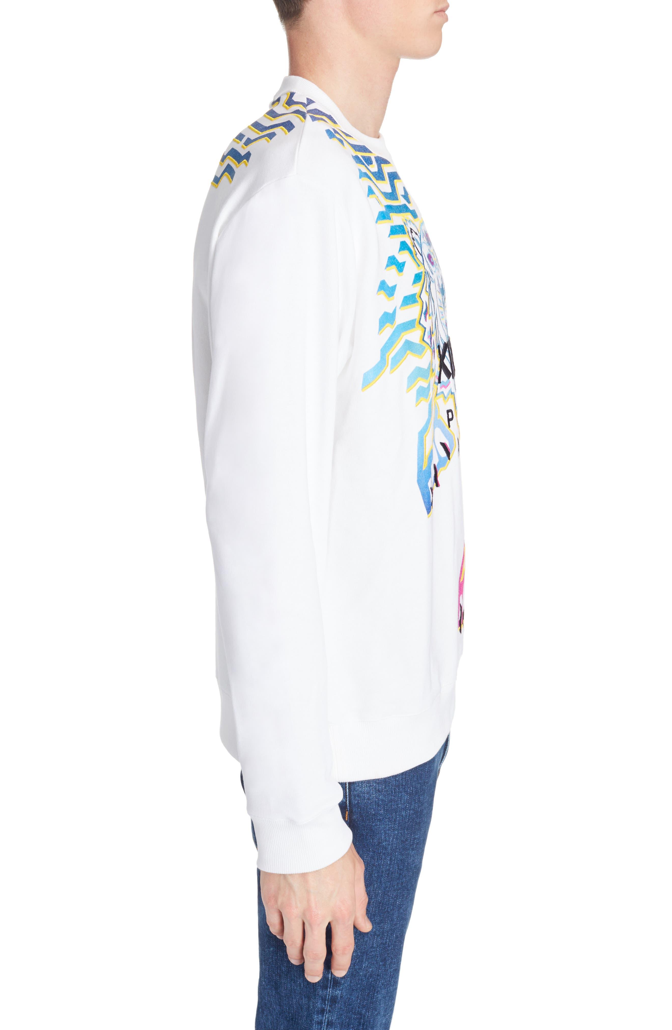 Rainbow Geo Tiger Embroidered Crewneck Sweatshirt,                             Alternate thumbnail 3, color,                             WHITE