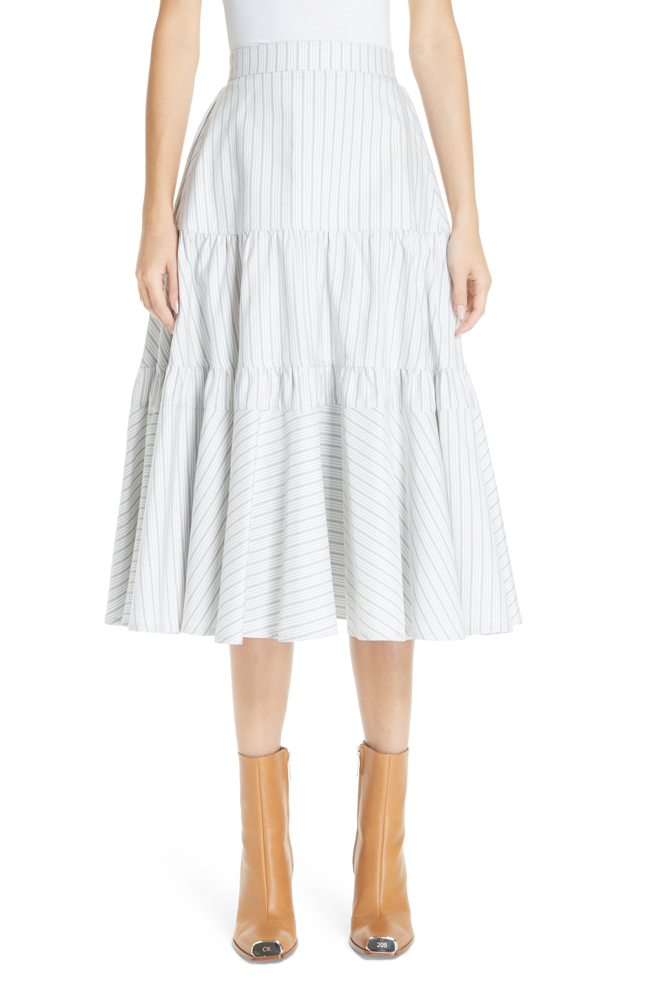 Silk Tiered Prairie Skirt,                         Main,                         color, CREAM BLUE