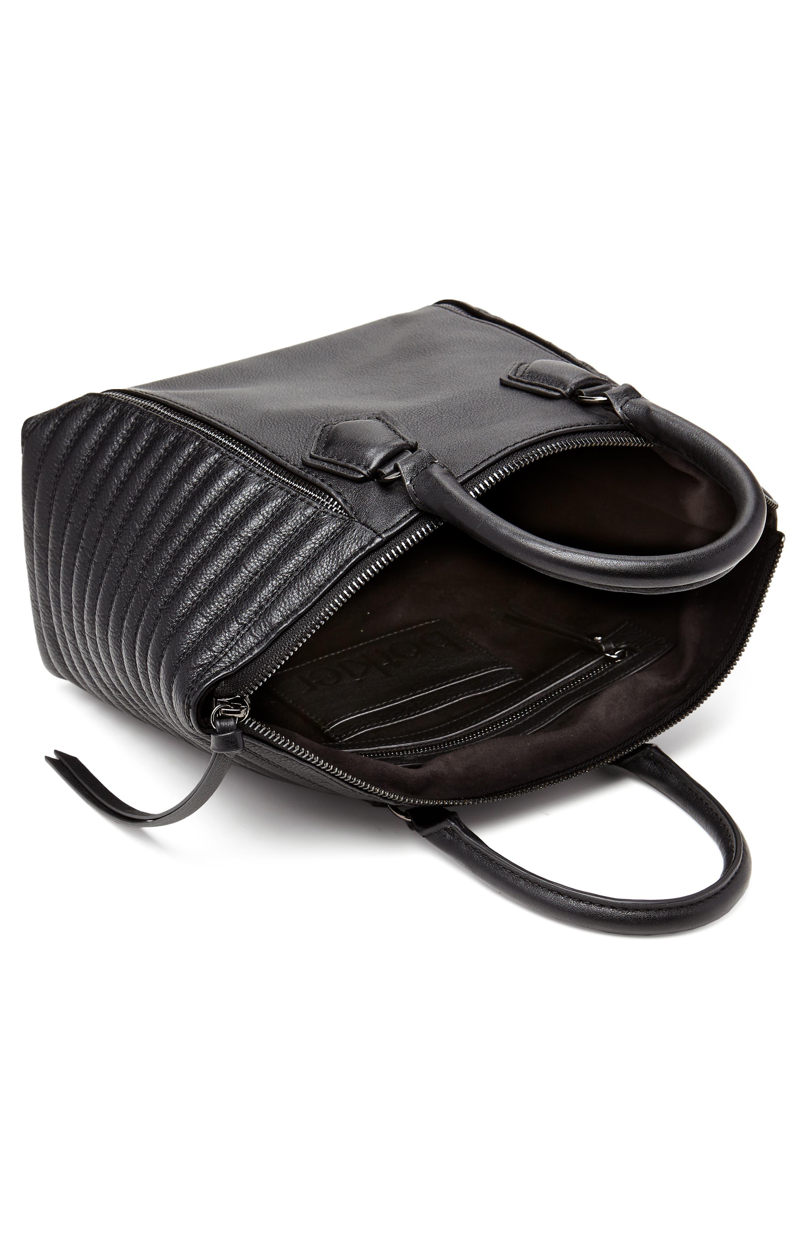 Small Leather Moto Satchel,                             Alternate thumbnail 3, color,                             BLACK