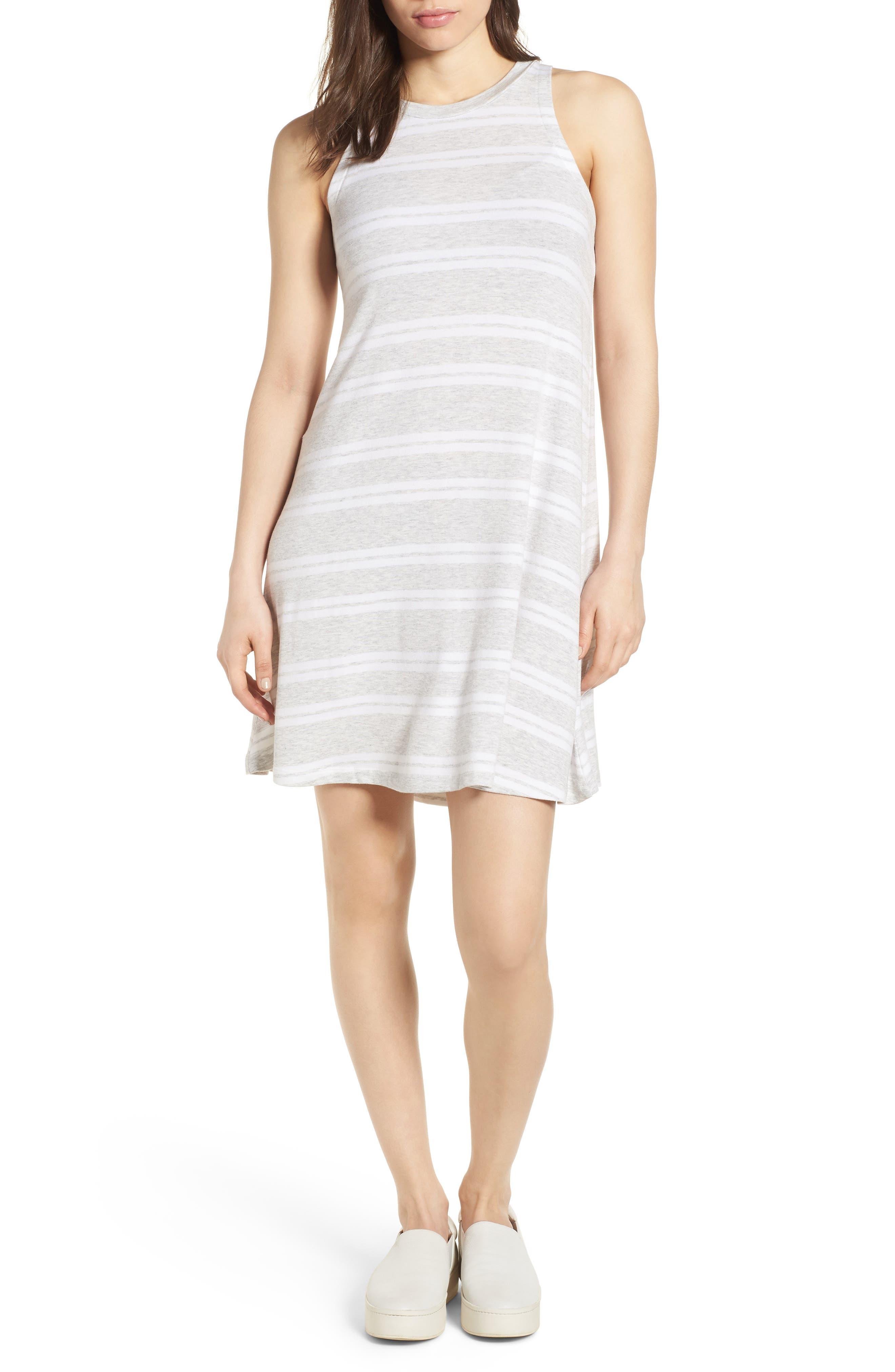 Sleeveless Stretch Knit Stripe Dress,                             Main thumbnail 2, color,