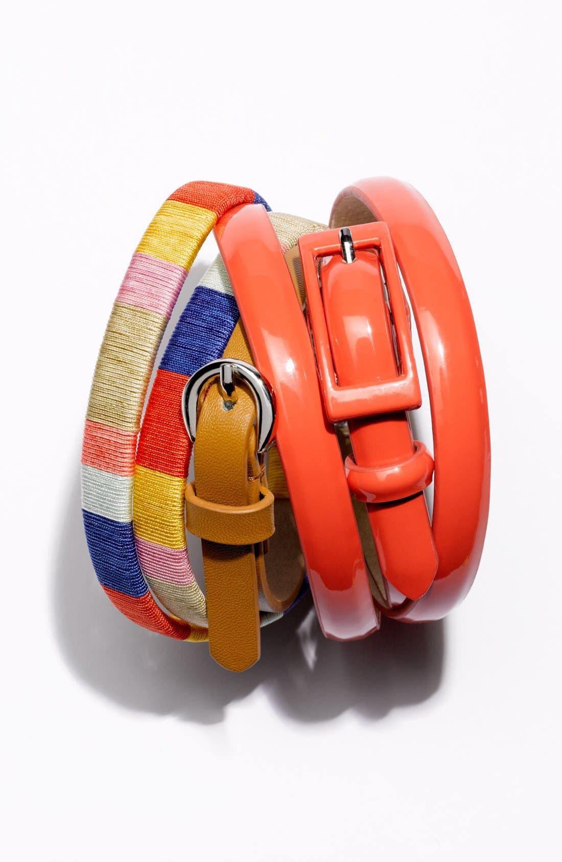 'Updated' Skinny Patent Belt,                             Alternate thumbnail 2, color,                             001