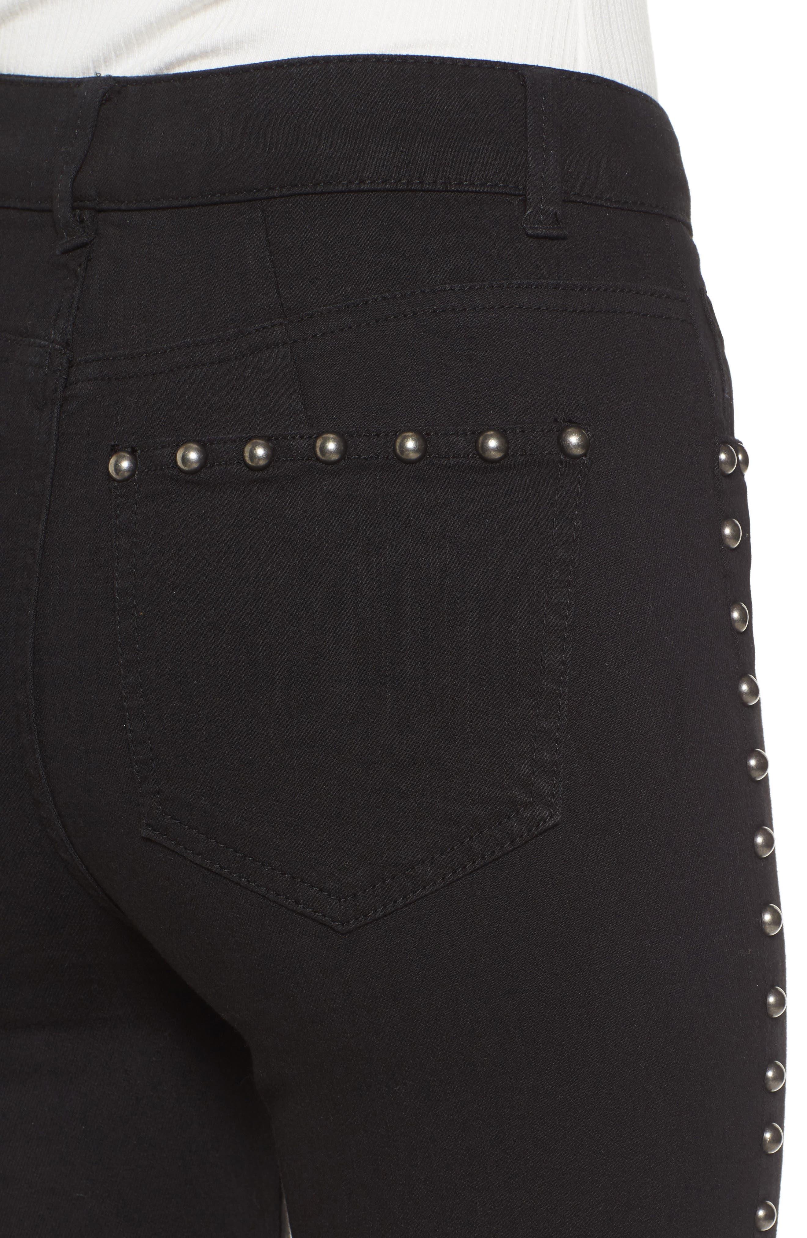 Stud Flare Jeans,                             Alternate thumbnail 4, color,                             001
