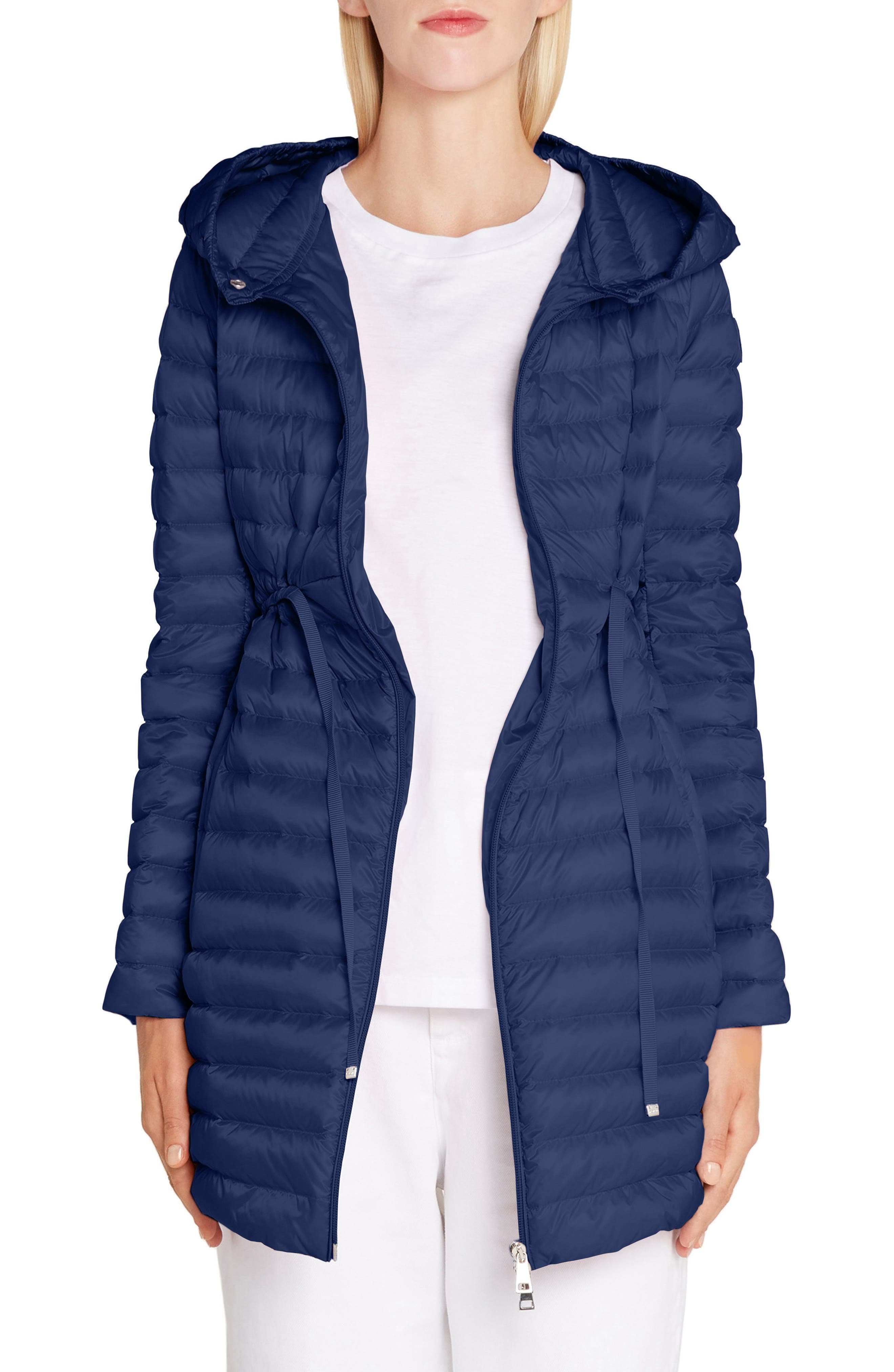 Moncler Barbel Tie Waist Hooded Down Coat, Blue