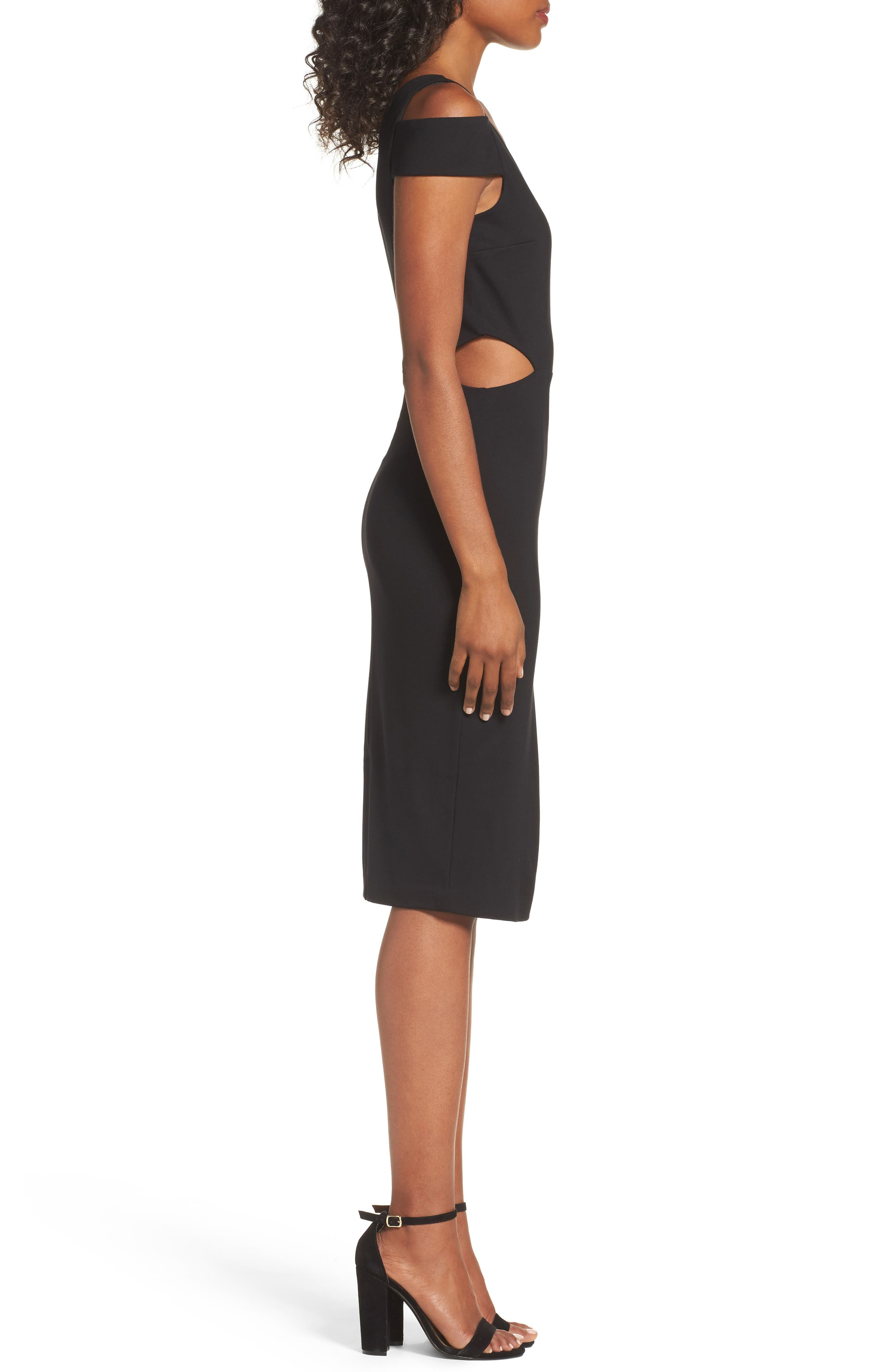 Ponte Body-Con Dress,                             Alternate thumbnail 3, color,                             001