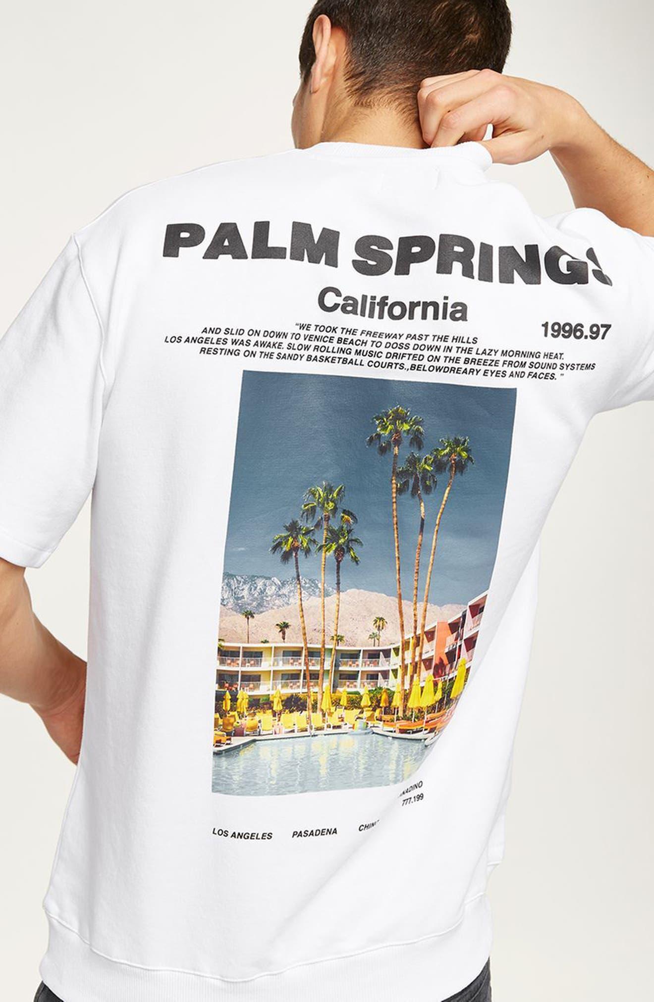 California Graphic Short Sleeve Sweatshirt,                             Alternate thumbnail 4, color,                             100