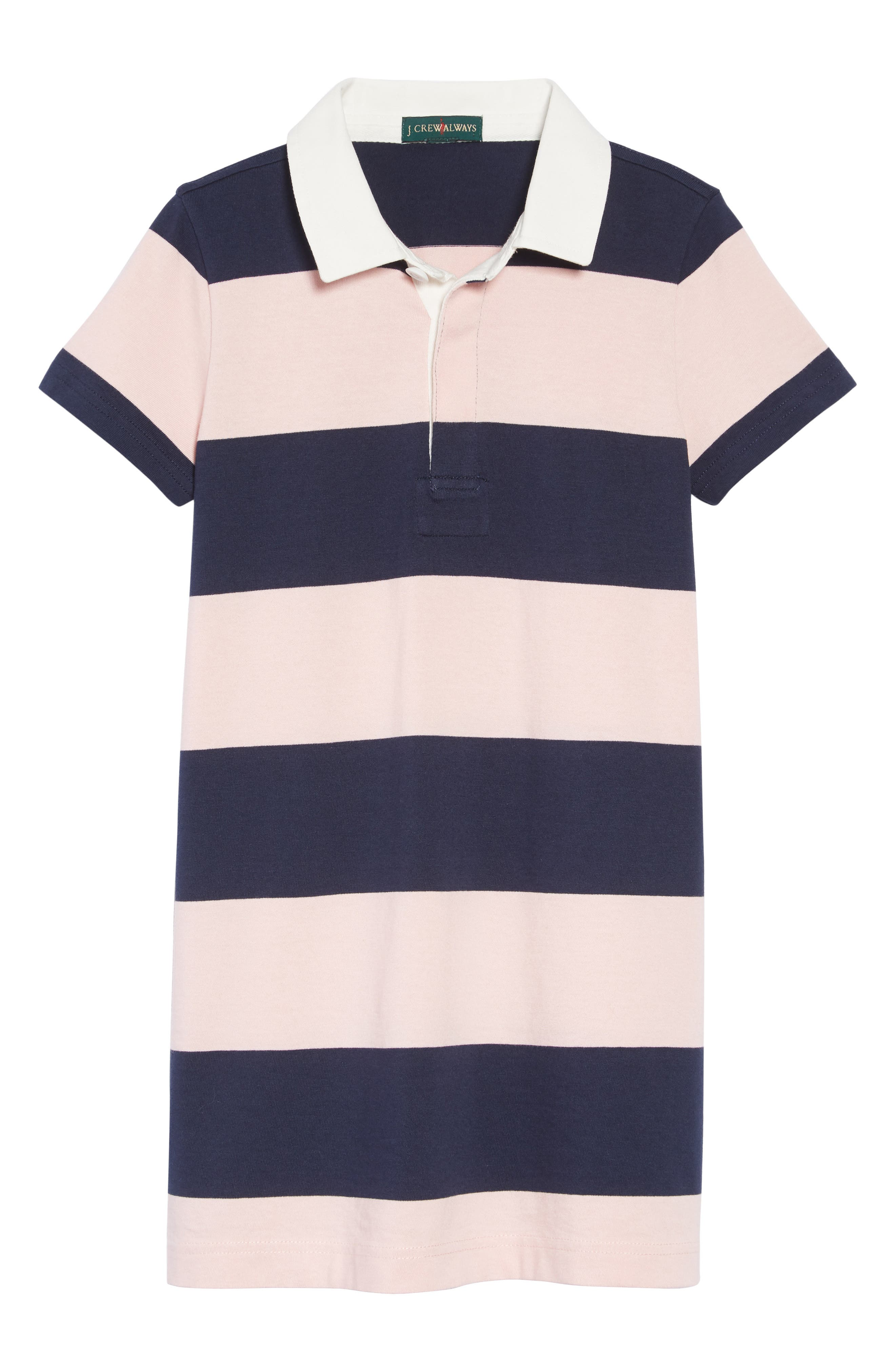Short Sleeve Rugby Shirtdress,                         Main,                         color, NAVY QUARTZ MALIK STRIPE