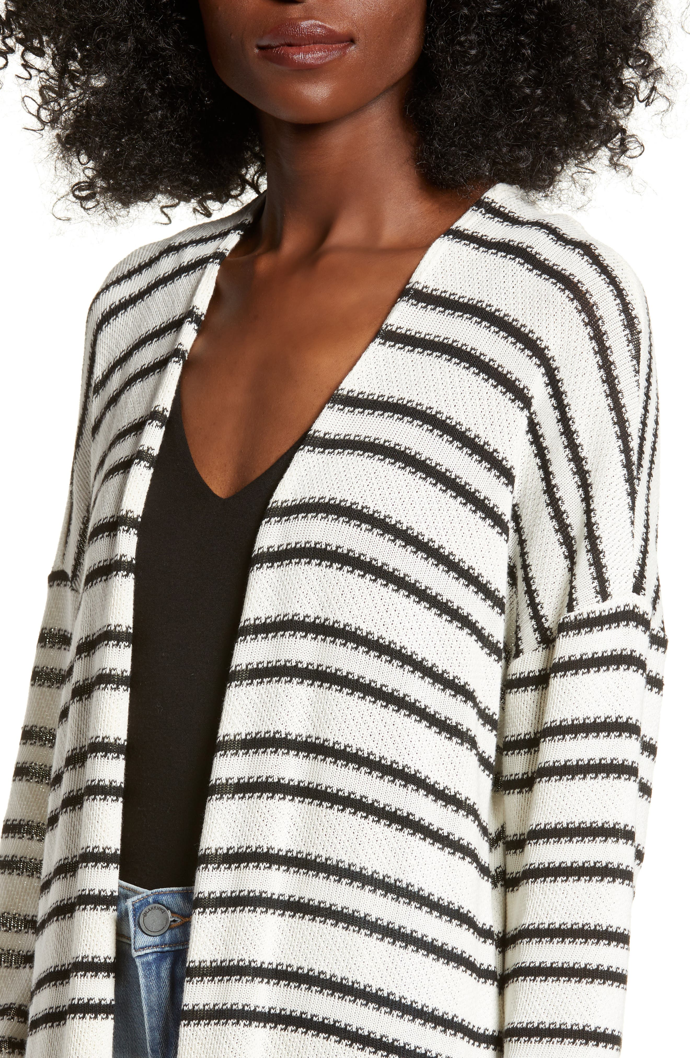 ALL IN FAVOR,                             Stripe Longline Cardigan,                             Alternate thumbnail 4, color,                             900