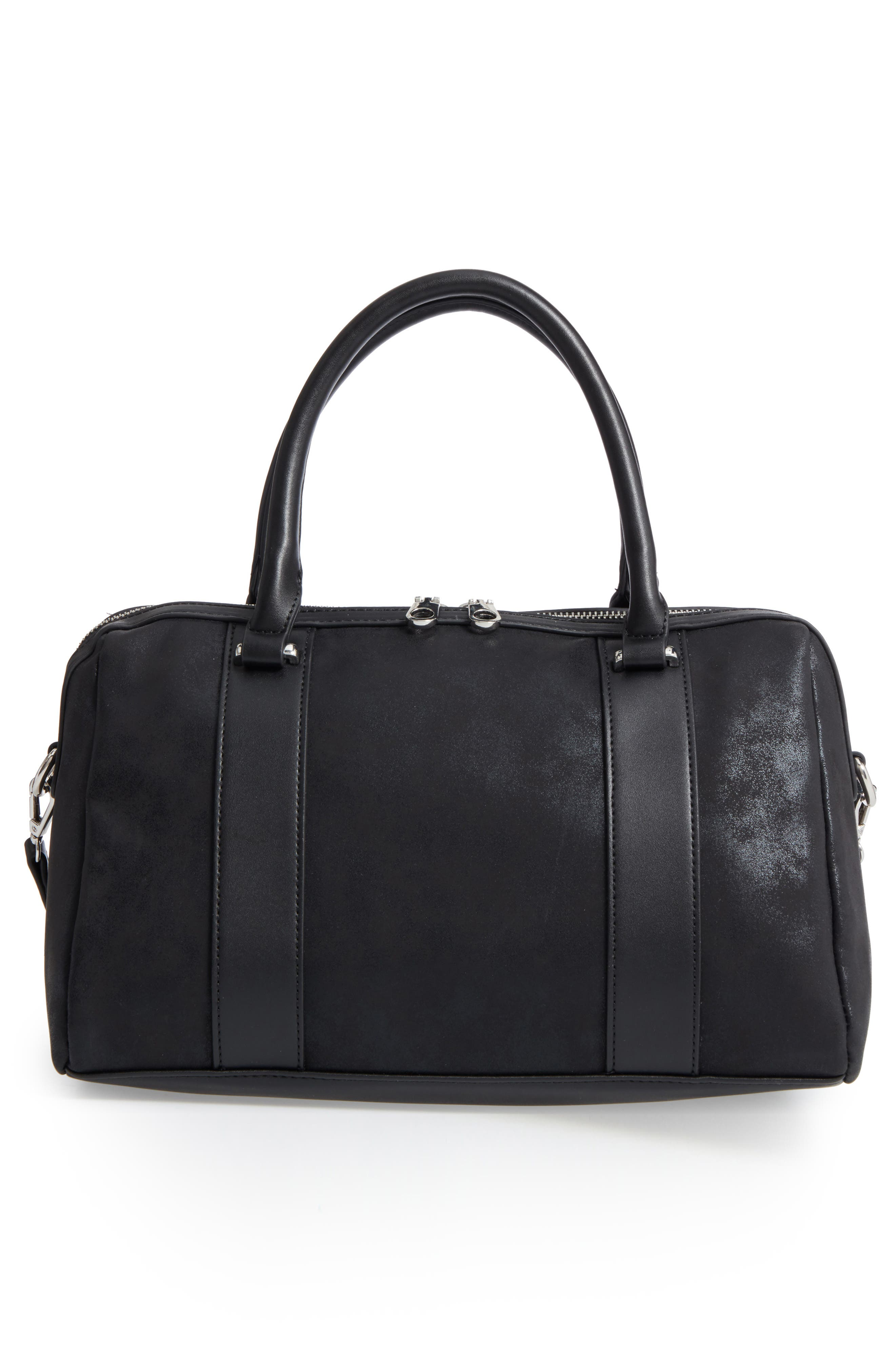 Karlie Faux Leather Satchel,                             Alternate thumbnail 3, color,                             001