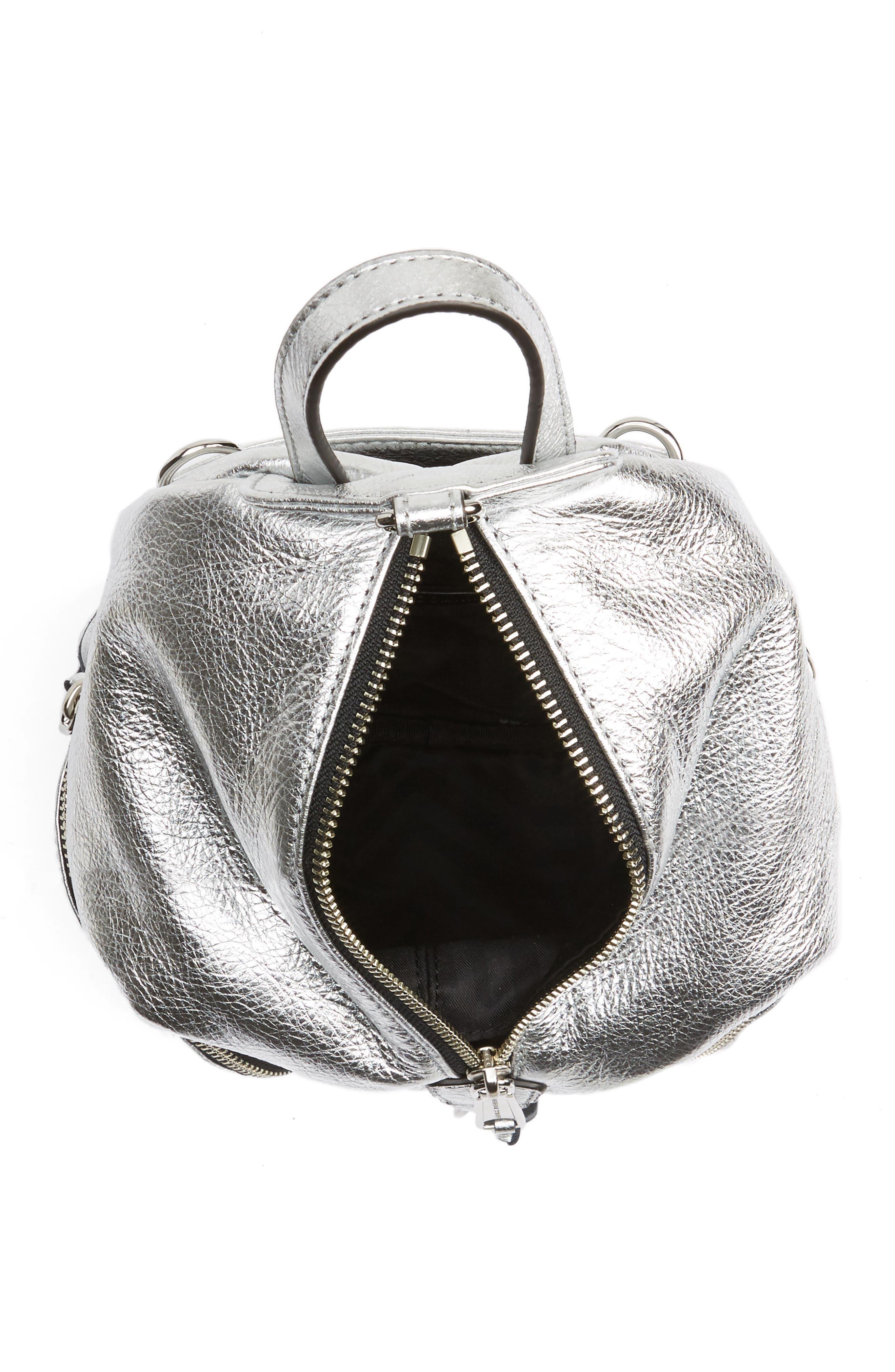 Mini Julian Metallic Leather Backpack,                             Alternate thumbnail 4, color,                             040