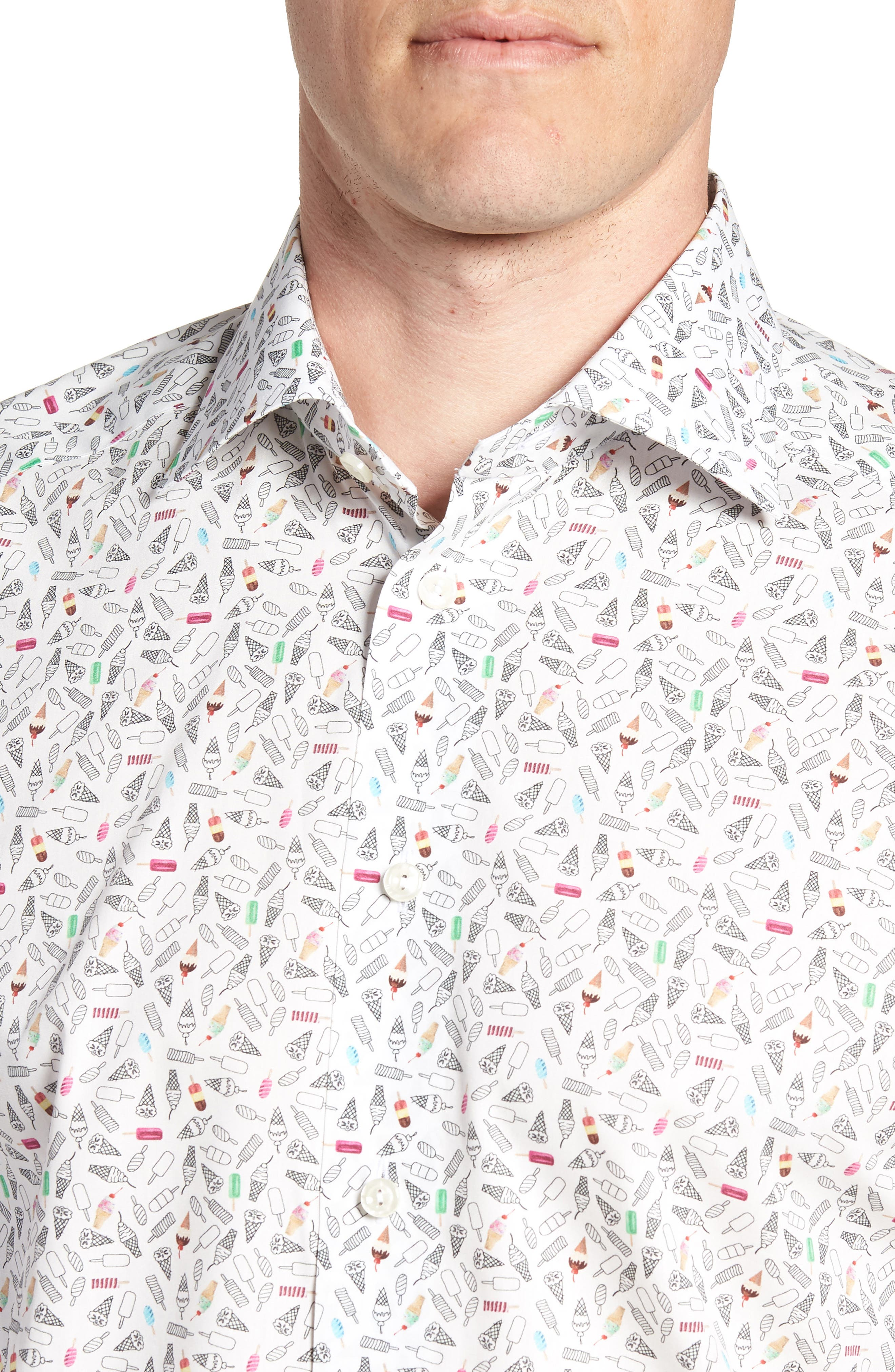 Contemporary Fit Print Dress Shirt,                             Alternate thumbnail 2, color,                             WHITE