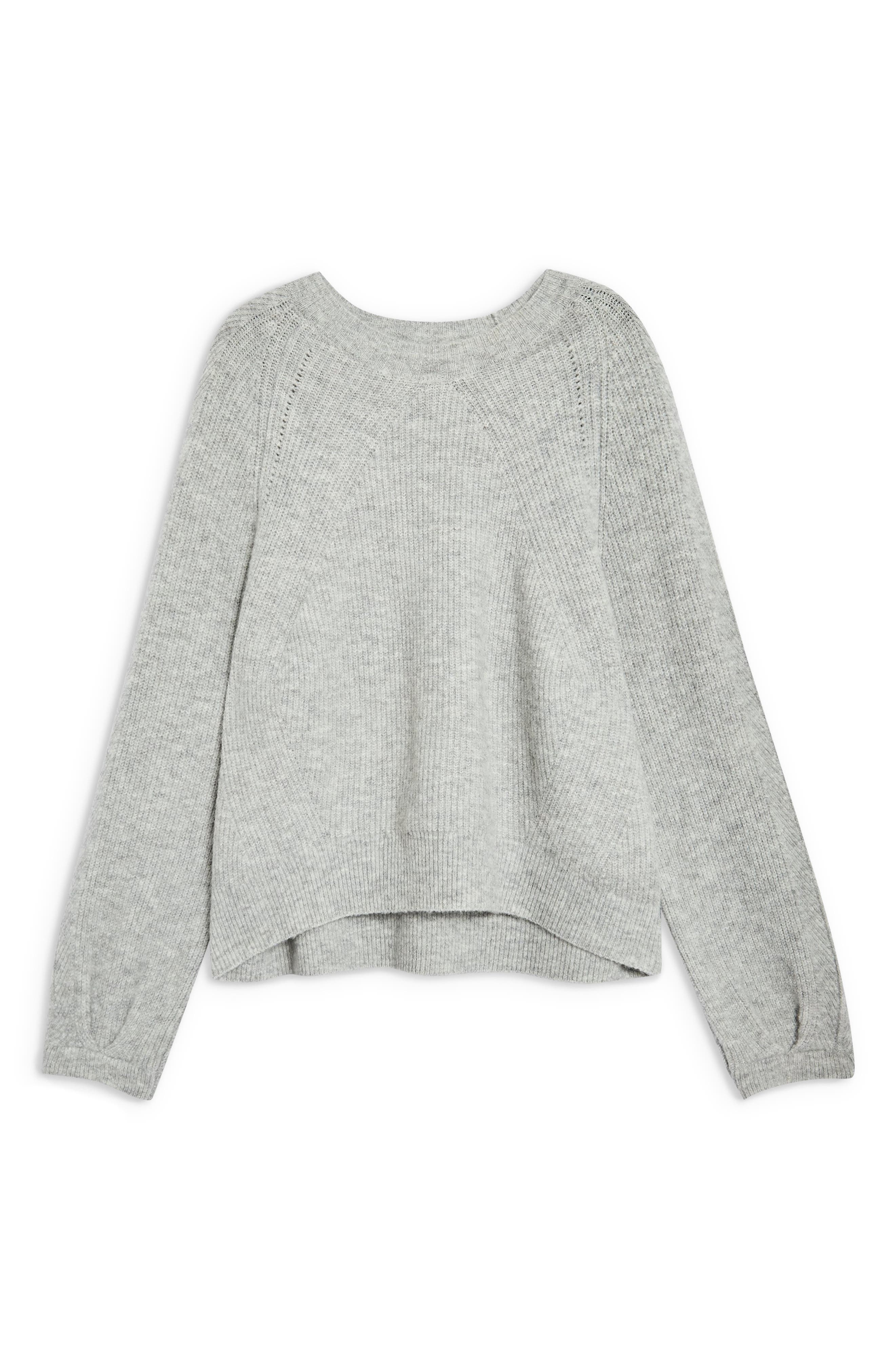 Ribbed Crewneck Sweater,                             Alternate thumbnail 3, color,                             GREY MARL
