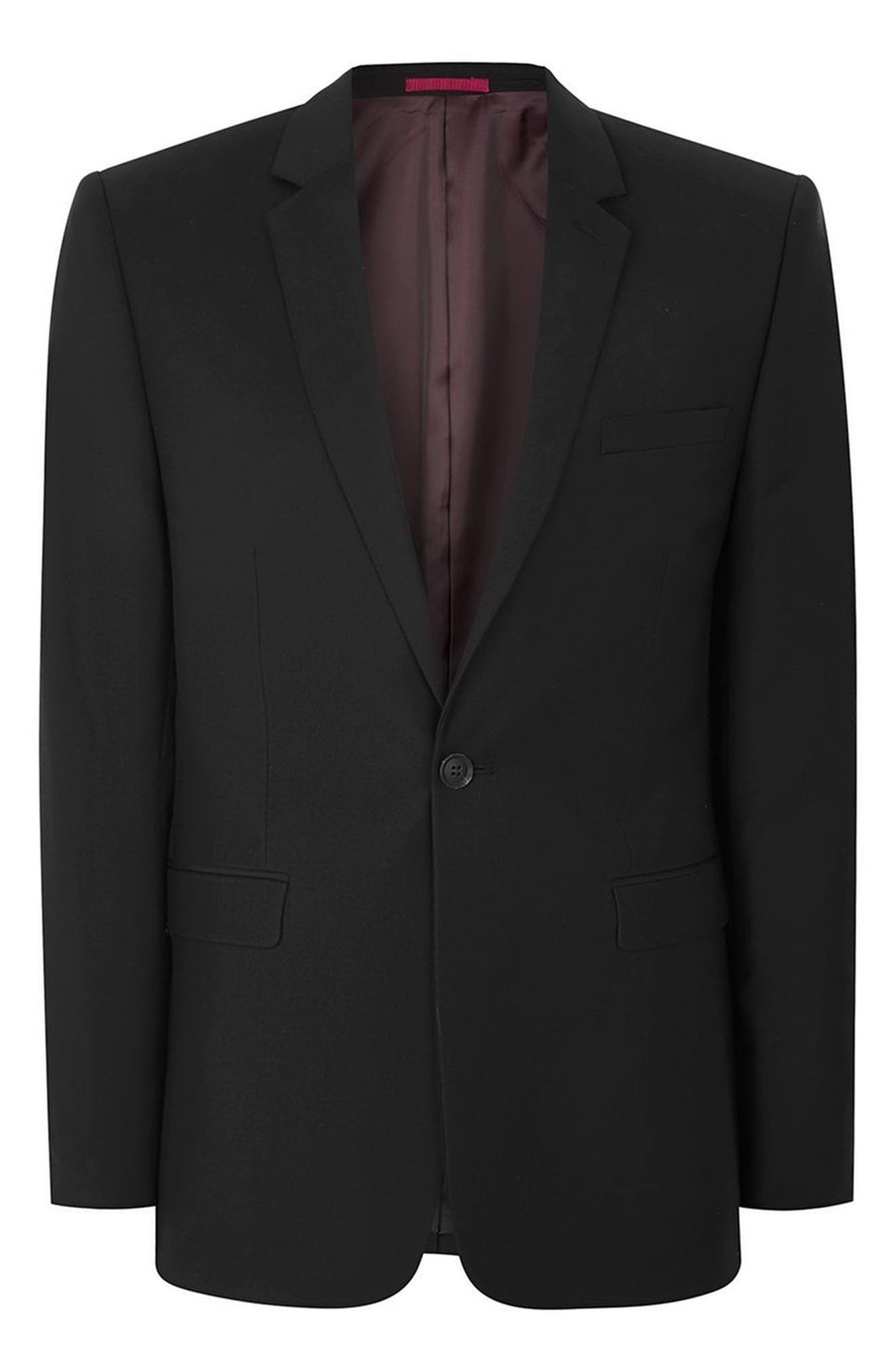 Skinny Fit One-Button Suit Jacket,                             Alternate thumbnail 4, color,                             BLACK