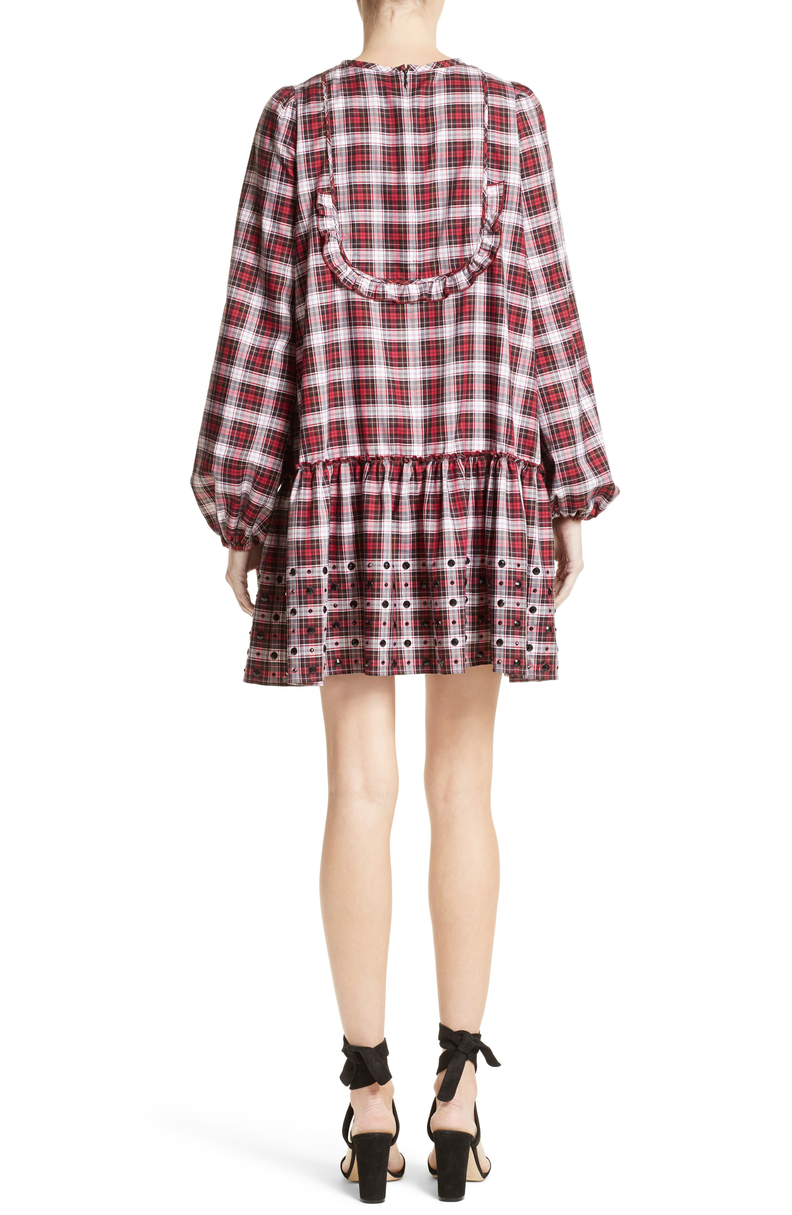 Crystal Embellished Plaid Dress,                             Alternate thumbnail 2, color,                             100