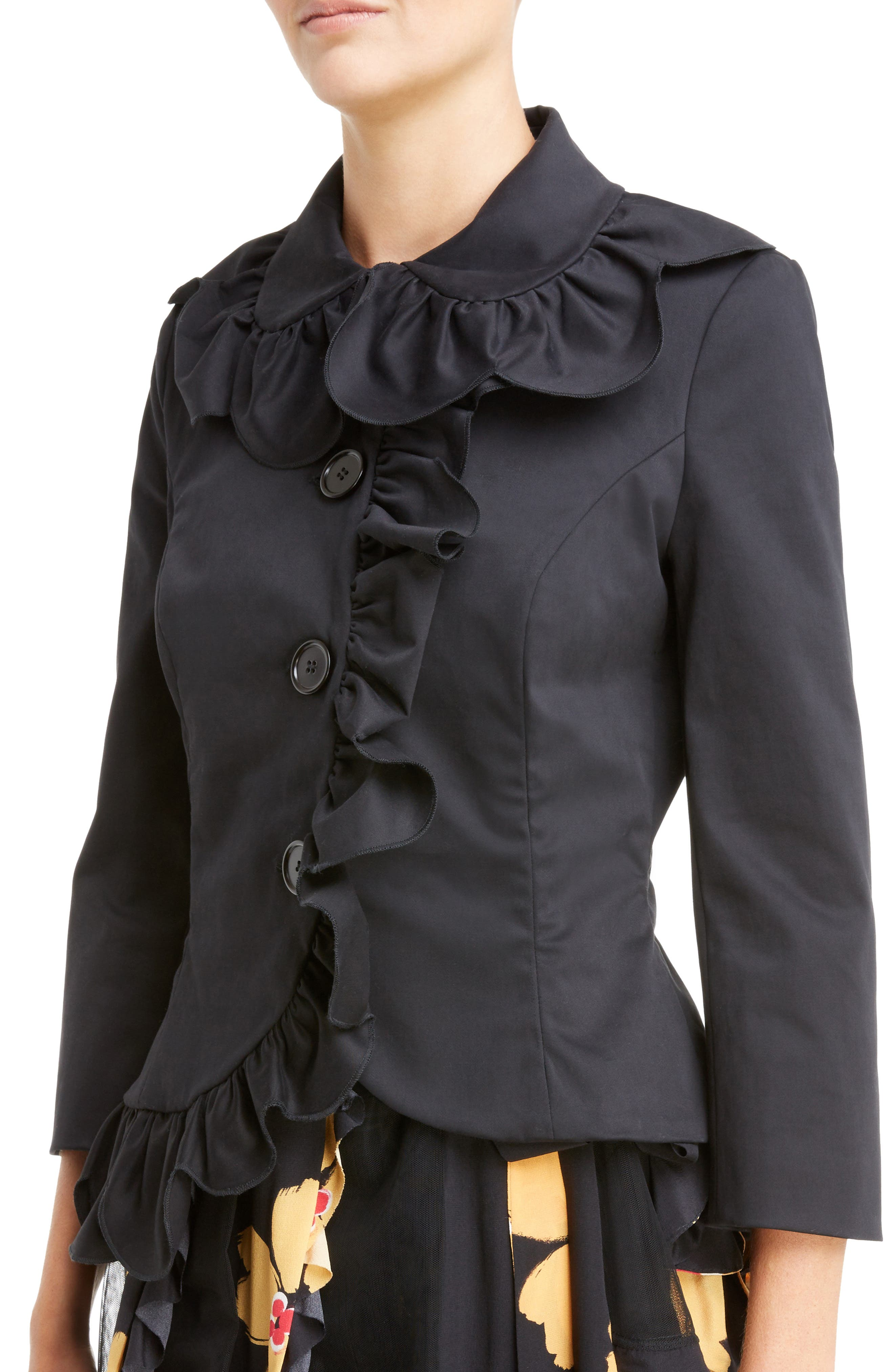 Scallop Frill Fitted Jacket,                             Alternate thumbnail 7, color,