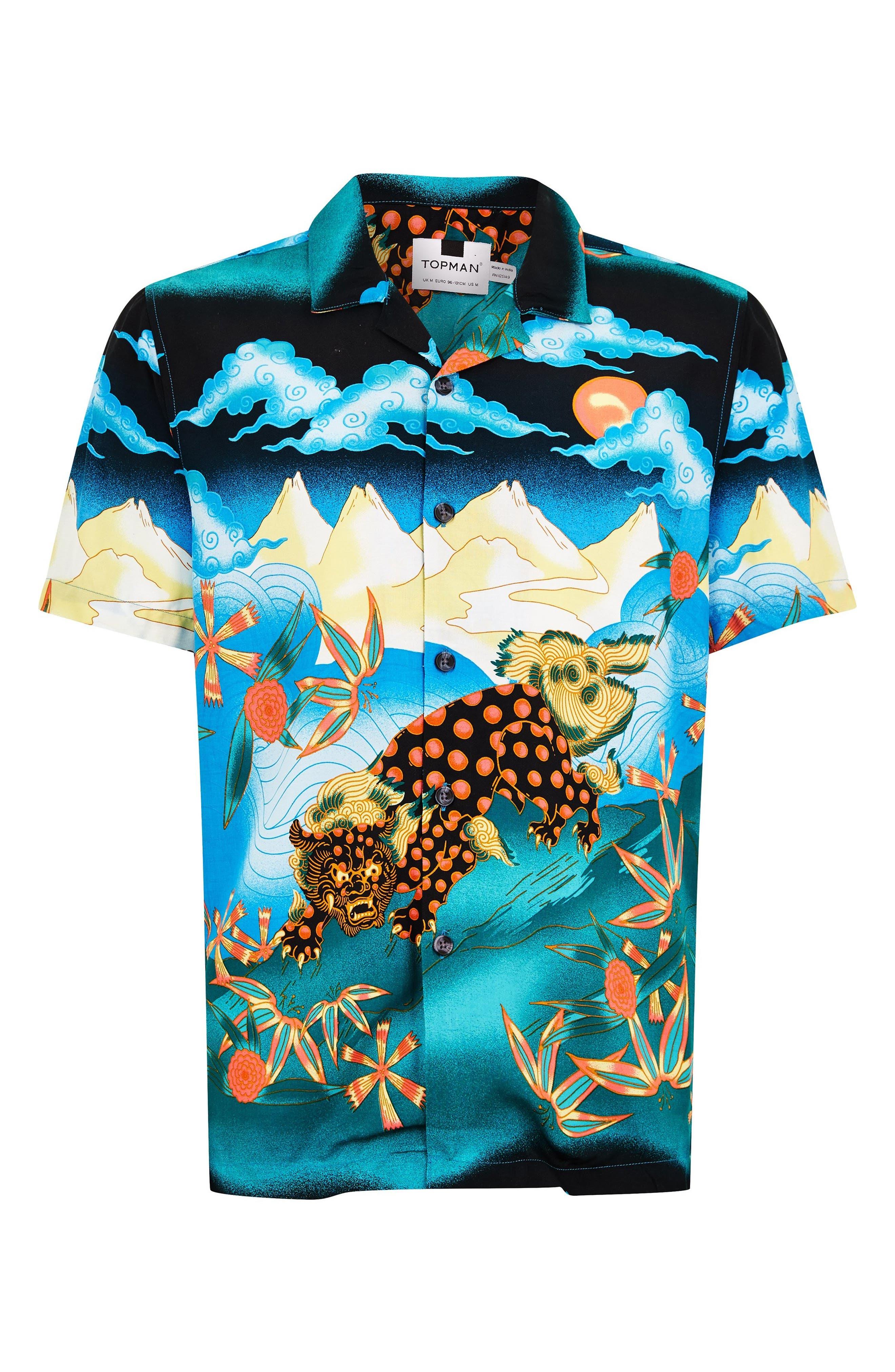 Foo Dog Classic Fit Shirt,                             Alternate thumbnail 4, color,                             BLUE MULTI