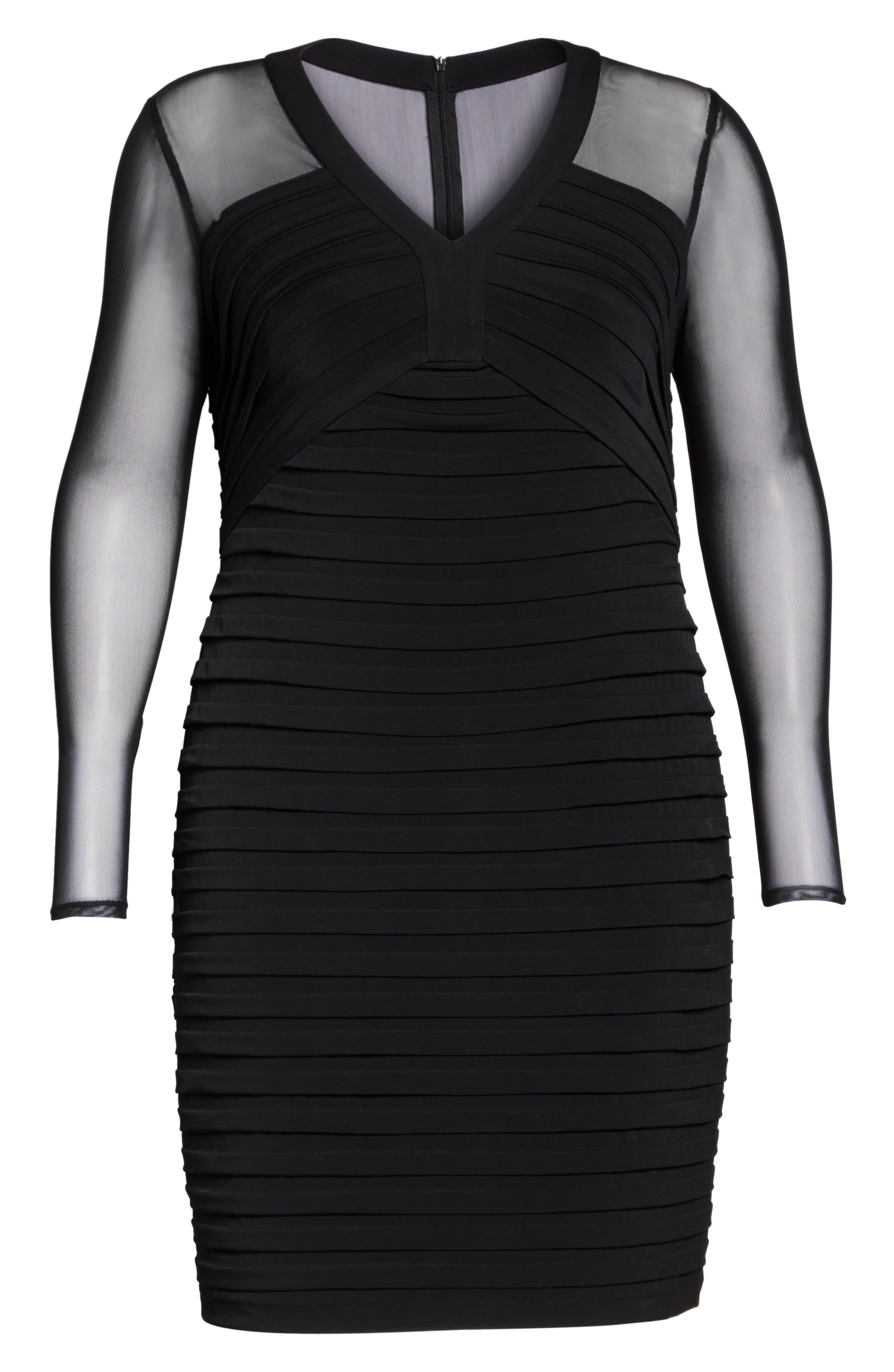 Shutter Pleat Jersey Skeath Dress,                             Alternate thumbnail 7, color,                             BLACK