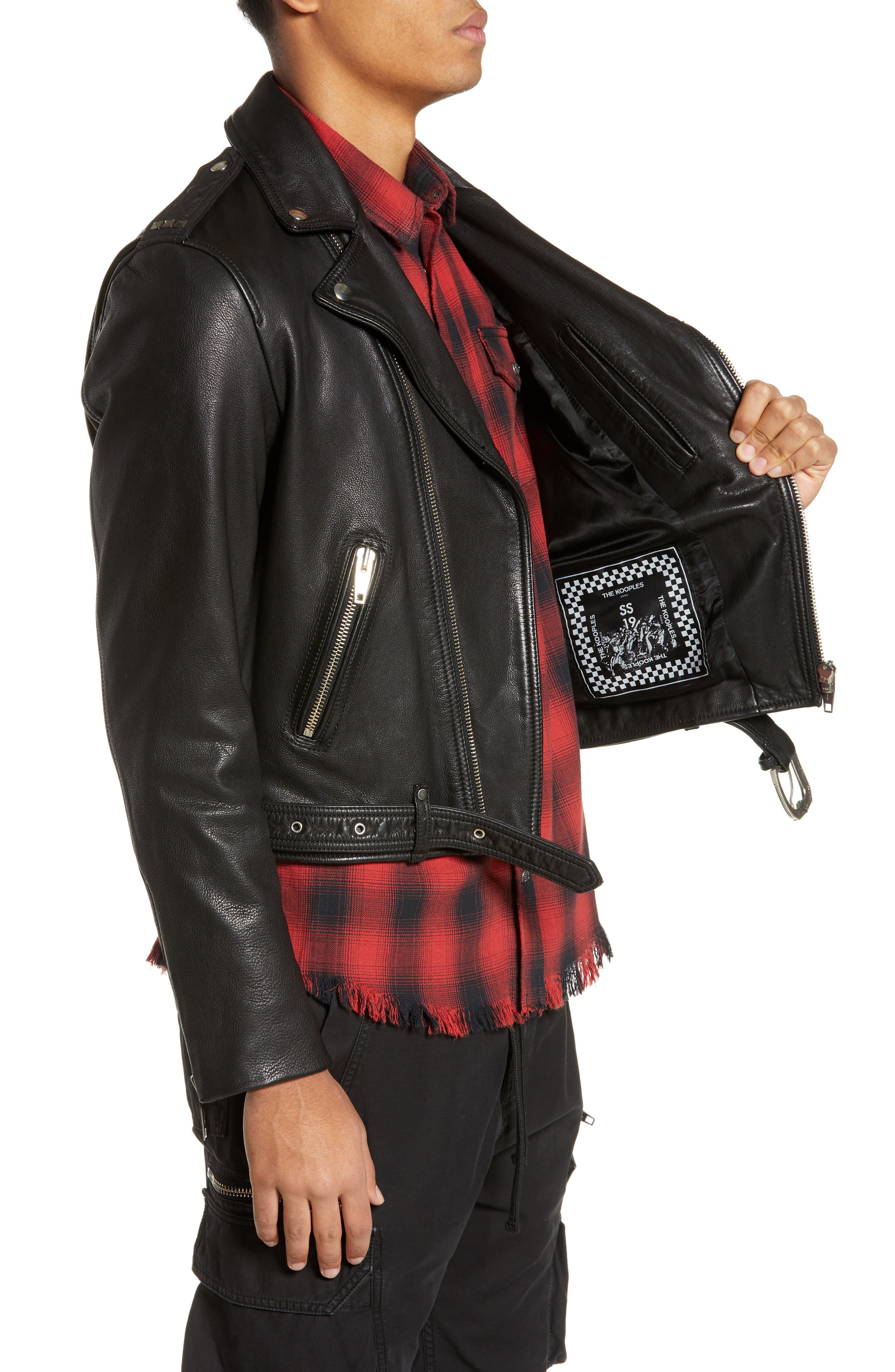 Leather Biker Jacket,                             Alternate thumbnail 3, color,                             BLACK