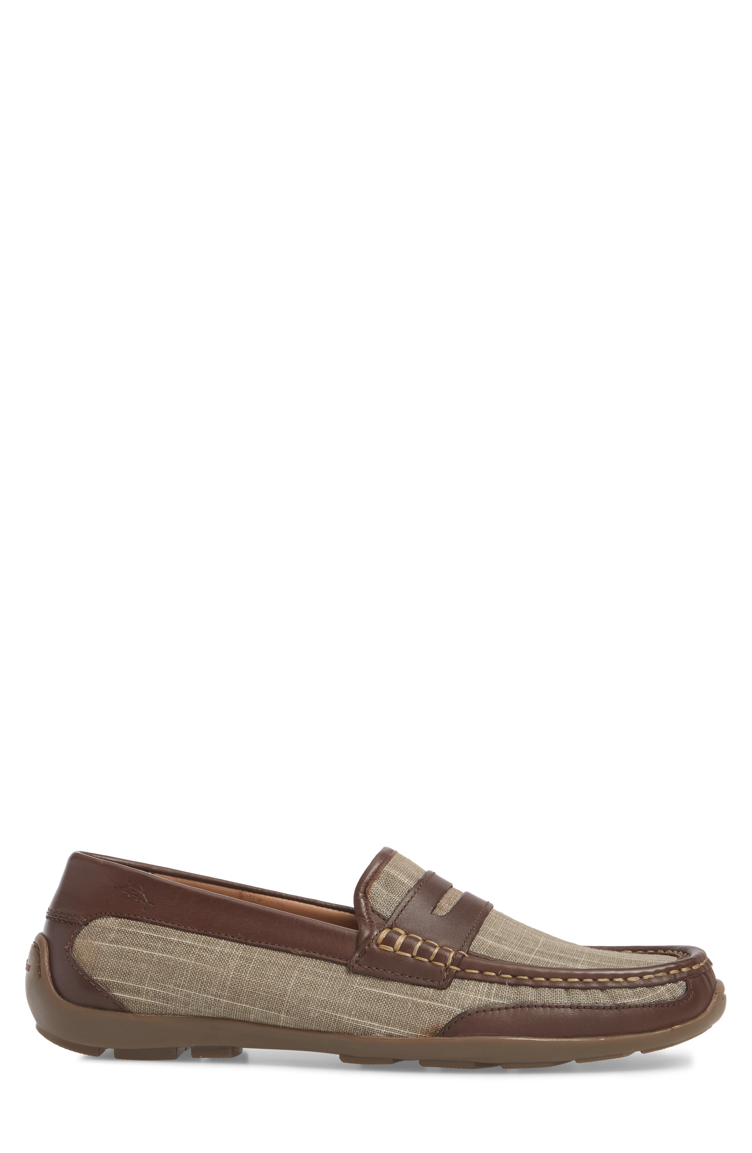 Taza Fronds Driving Shoe,                             Alternate thumbnail 3, color,                             BROWN/ OLIVE LEATHER/ LINEN