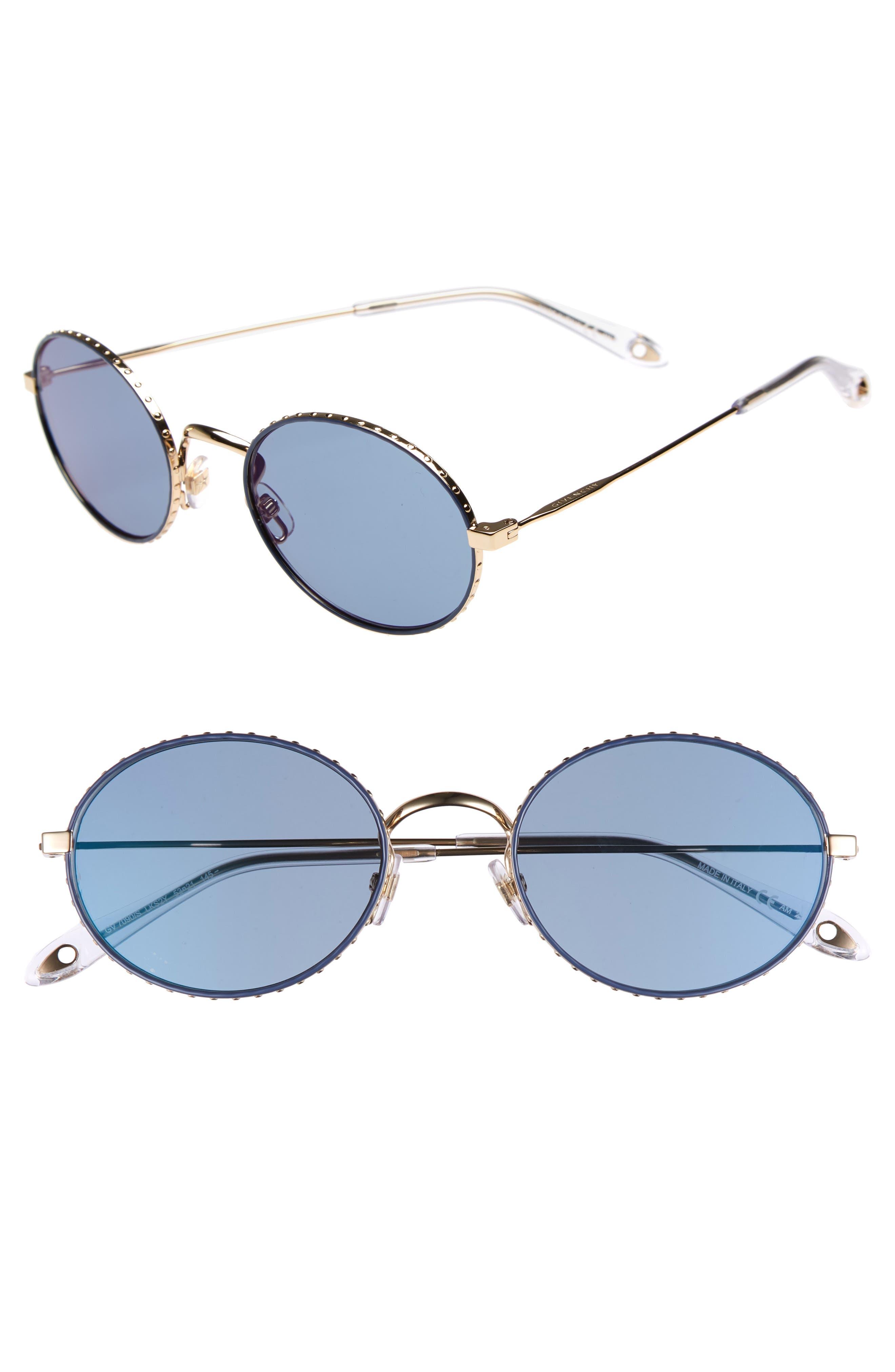 53mm Oval Sunglasses,                             Main thumbnail 1, color,                             GOLD/ BLUE