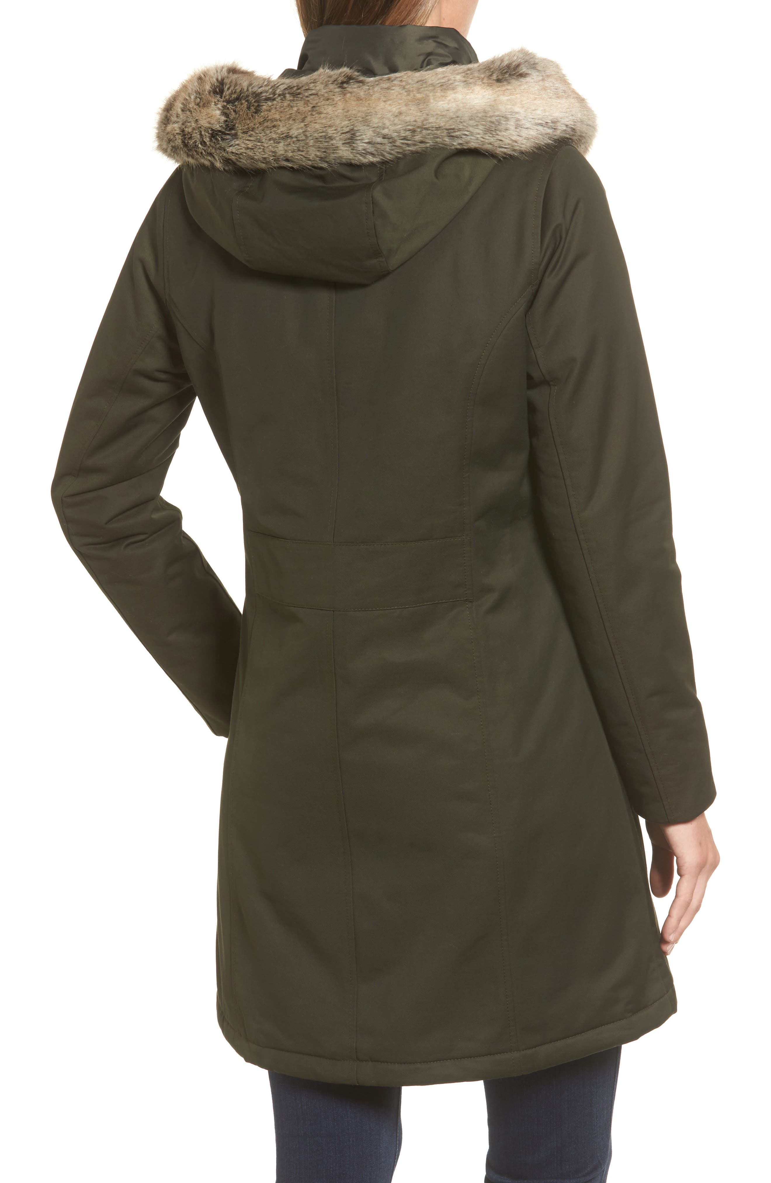 Filey Waterproof Hooded Jacket with Faux Fur Trim,                             Alternate thumbnail 2, color,                             302