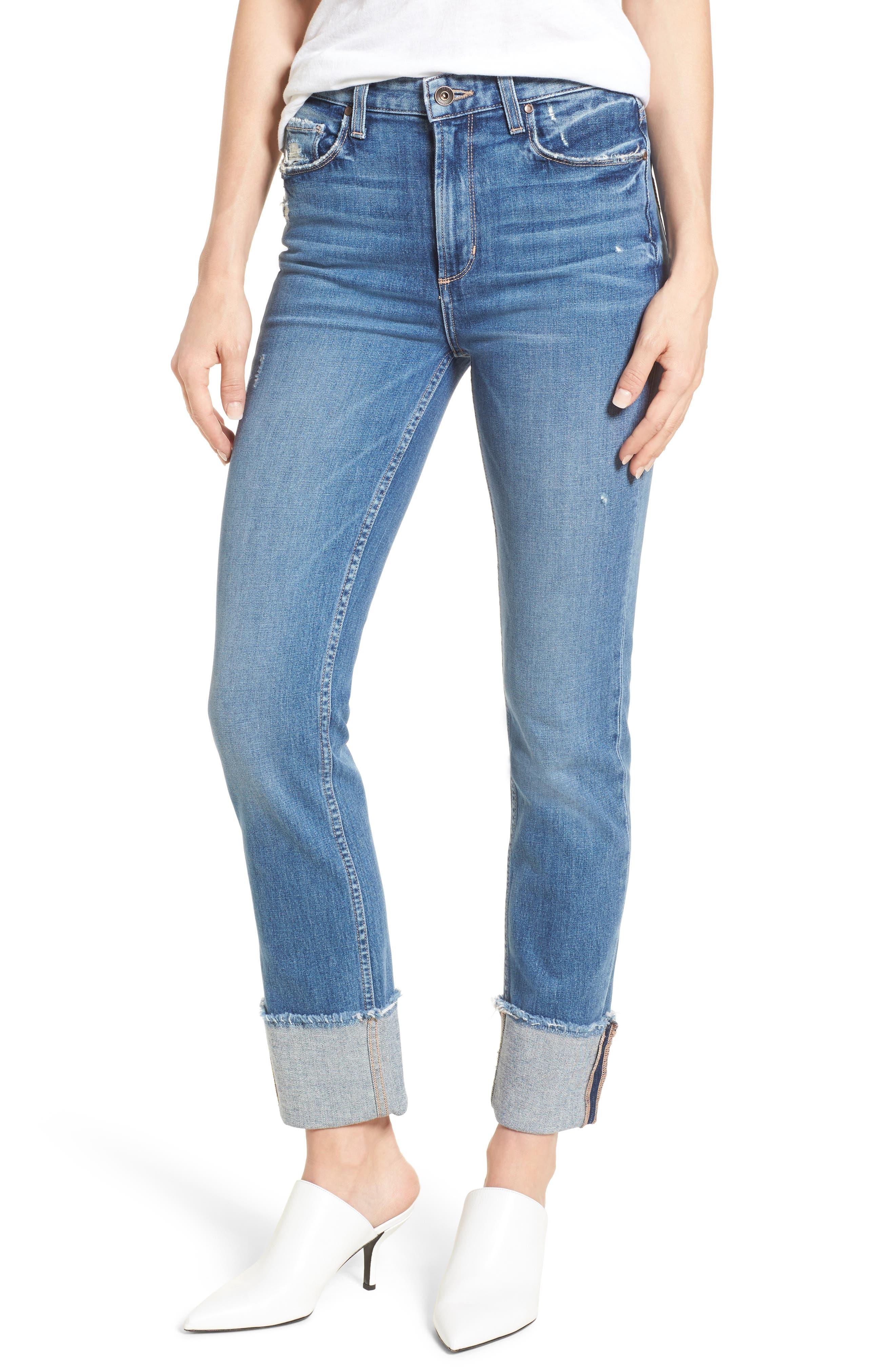 Sarah High Waist Straight Leg Jeans,                         Main,                         color, 400