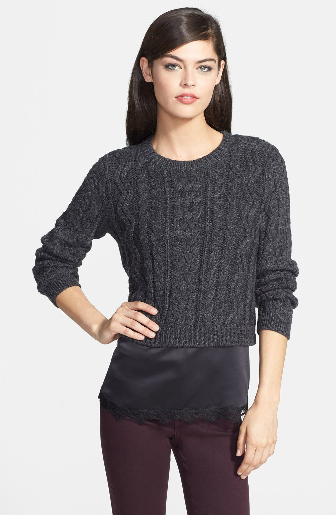 CHELSEA28,                             Cabled Crop Sweater,                             Main thumbnail 1, color,                             020