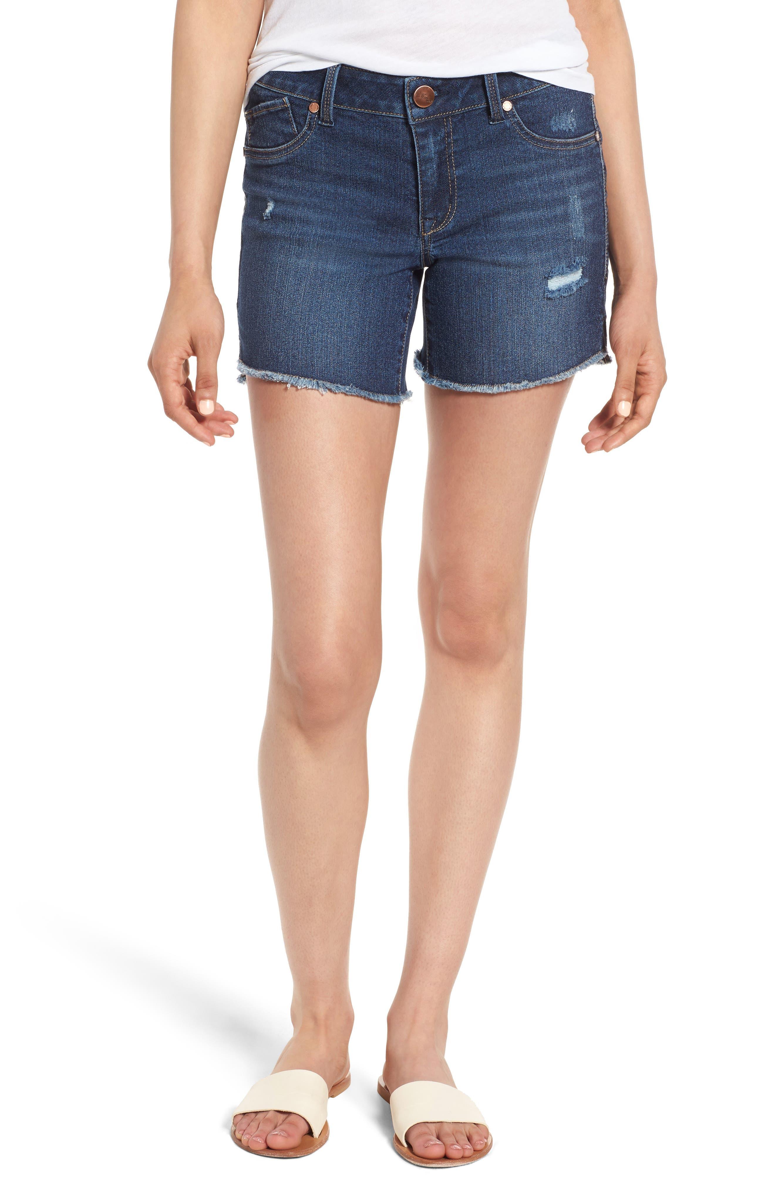 Side Slit Cutoff Denim Shorts,                         Main,                         color, 400
