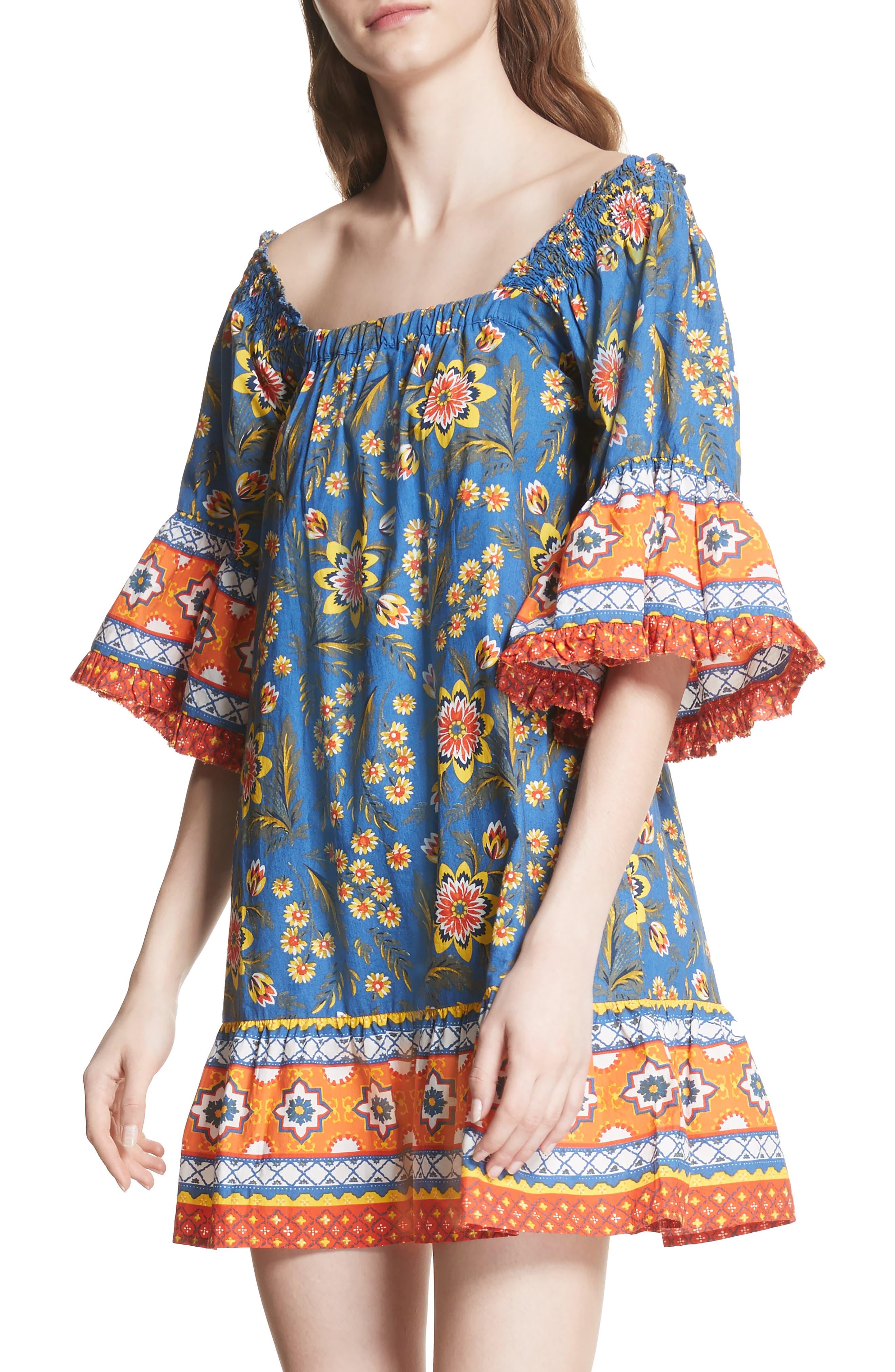 Chloris Off the Shoulder Cotton Dress,                             Alternate thumbnail 4, color,                             BAJA BLUE