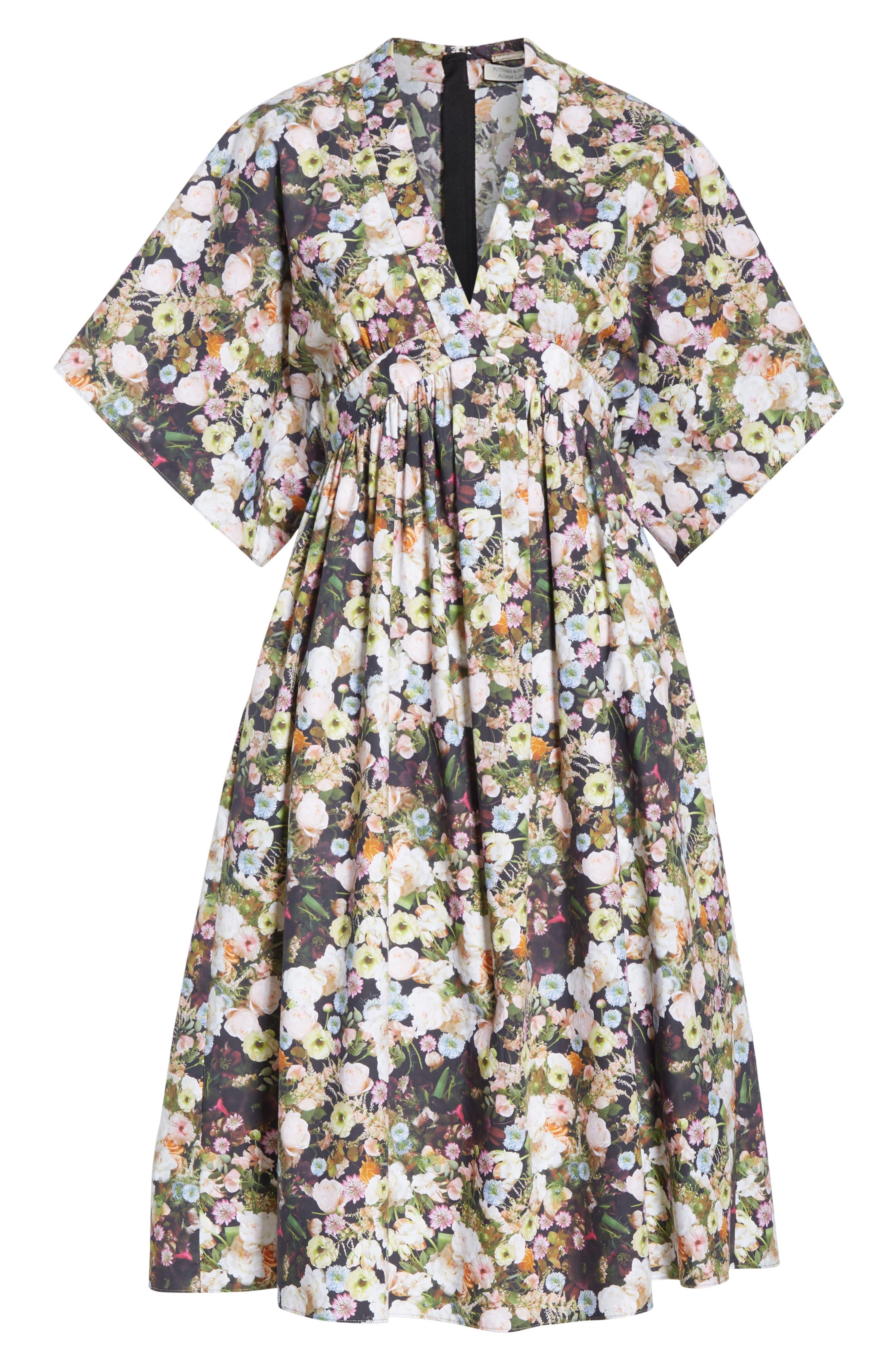 Floral Print Poplin Dress,                             Alternate thumbnail 6, color,                             BLACK FLORAL