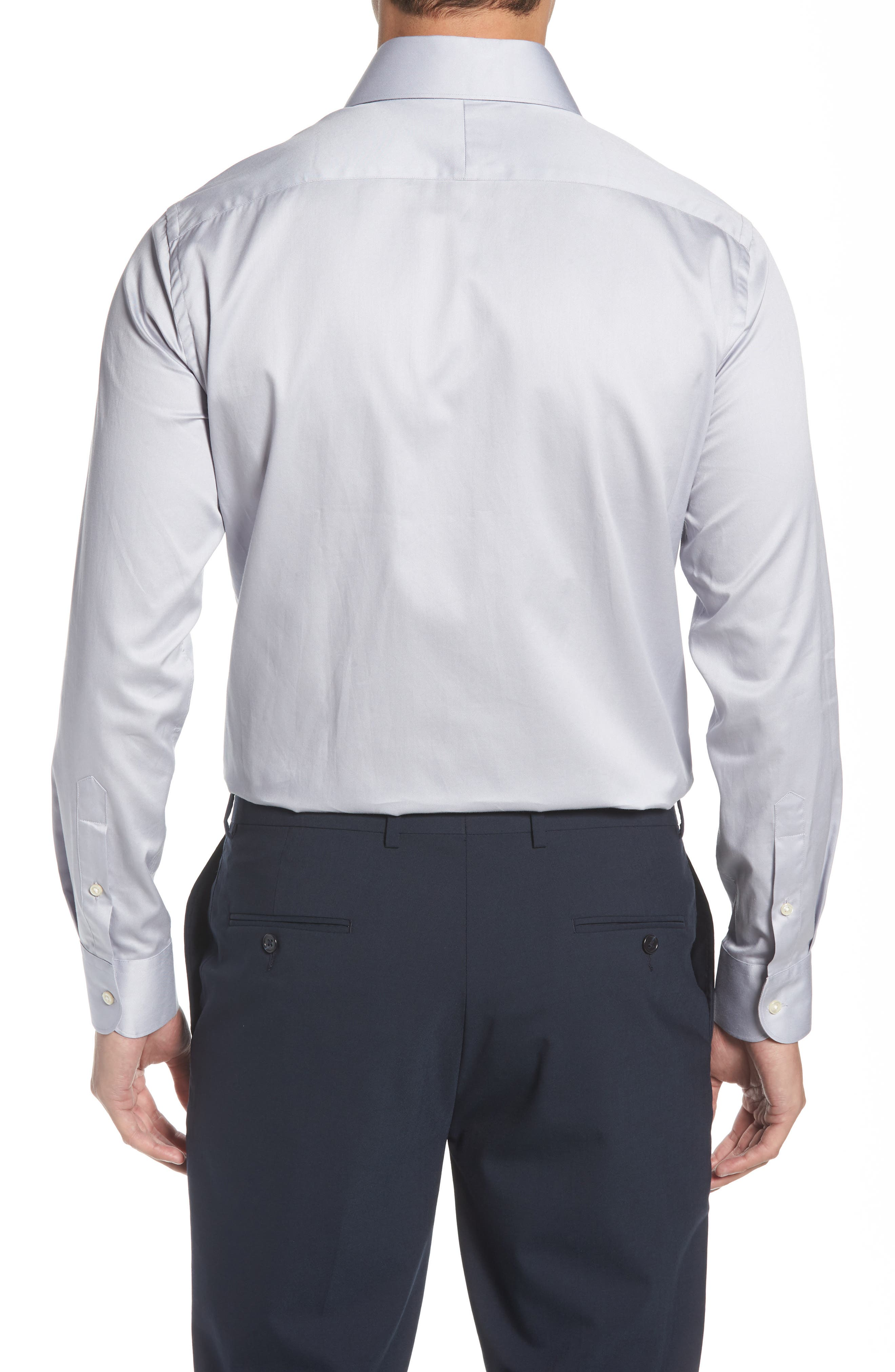 Regular Fit Solid Dress Shirt,                             Alternate thumbnail 3, color,                             SILVER