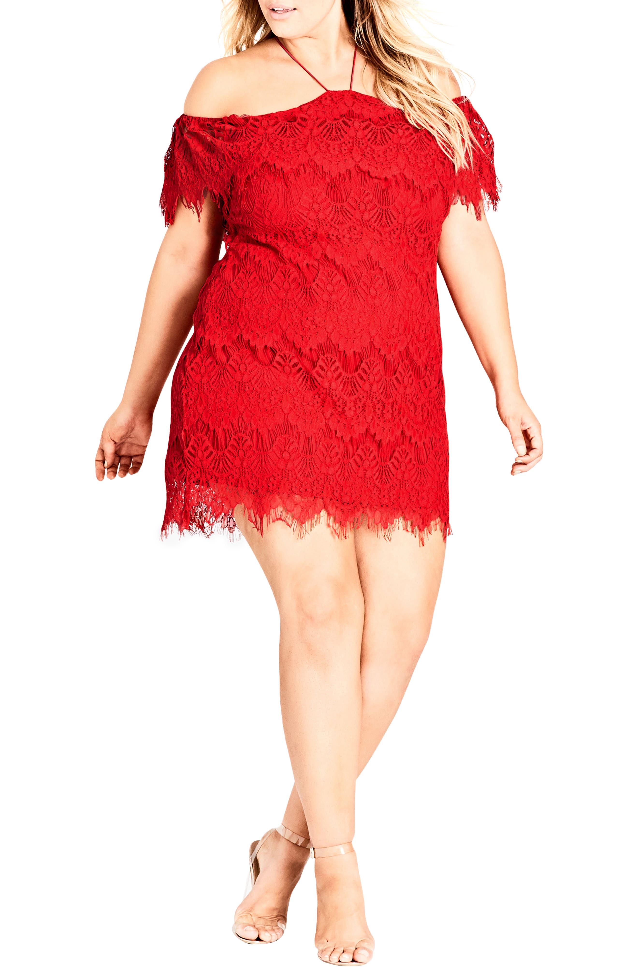 Lace Devotion Off the Shoulder Minidress,                             Main thumbnail 1, color,                             RED