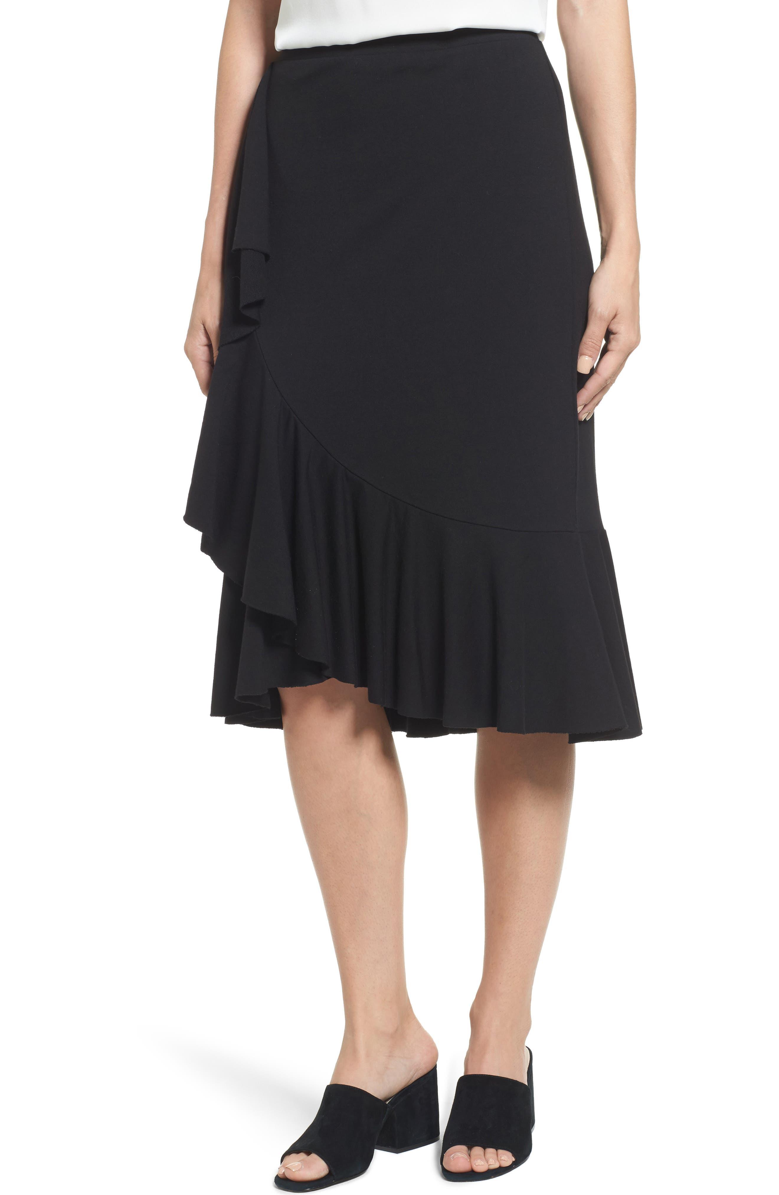Ruffled Knit Skirt,                             Main thumbnail 1, color,                             001