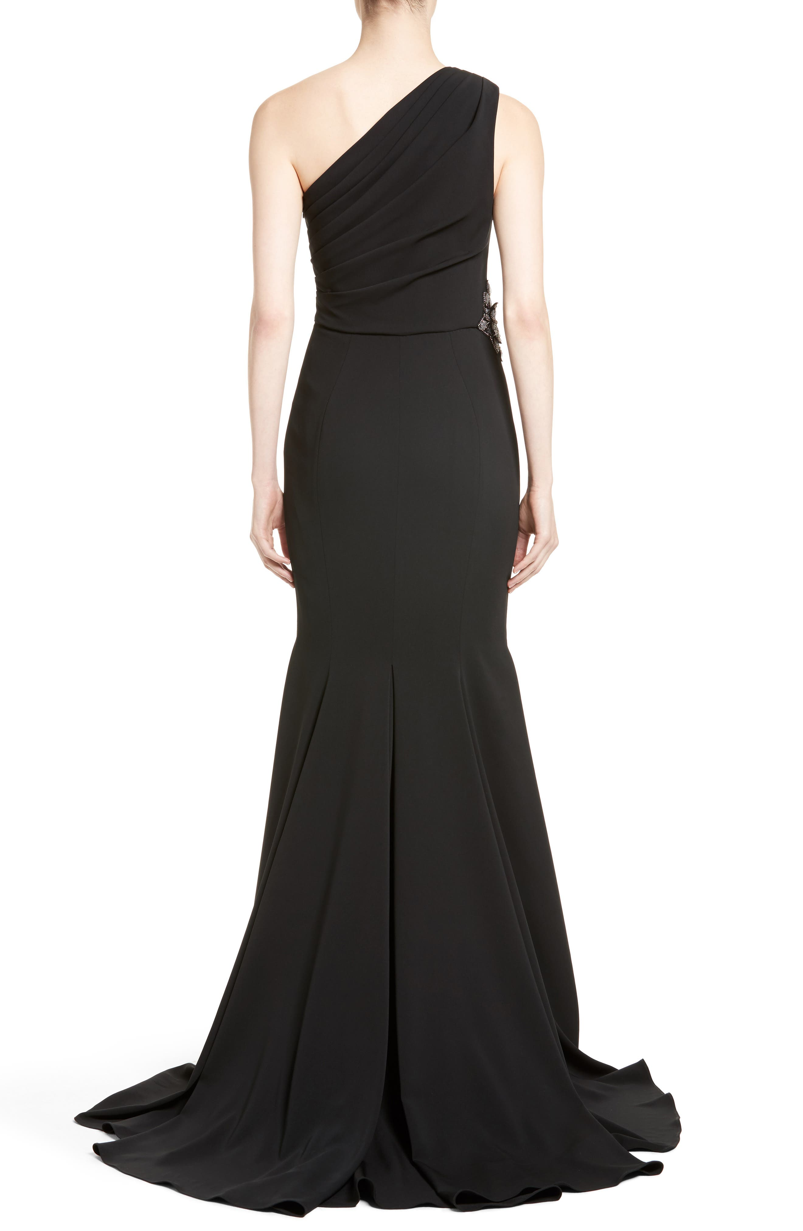 Badgley Mischka Couture Odessa Embellished One-Shoulder Gown,                             Alternate thumbnail 2, color,                             001