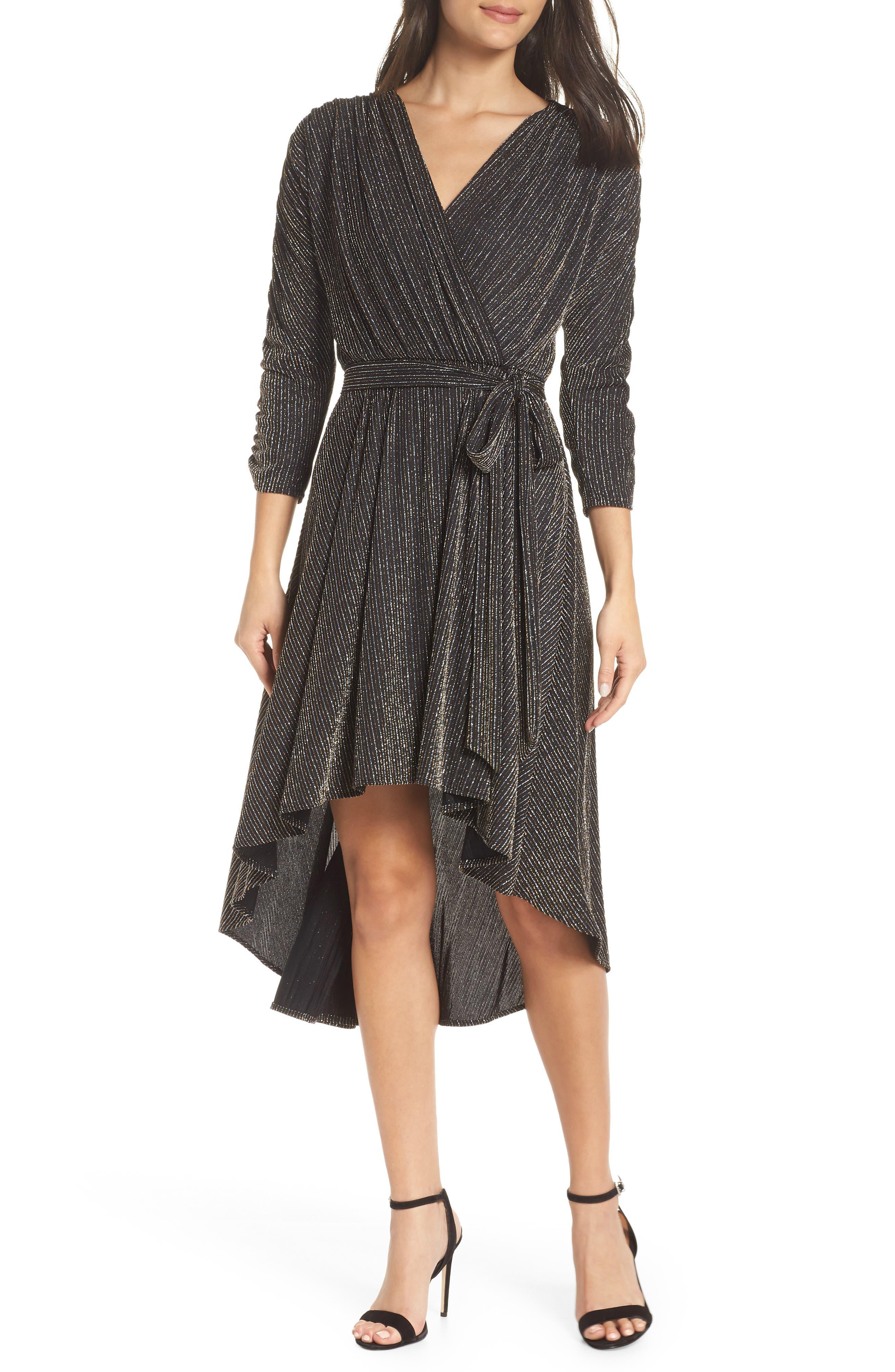 Chelsea28 Metallic Wrap Dress, Black