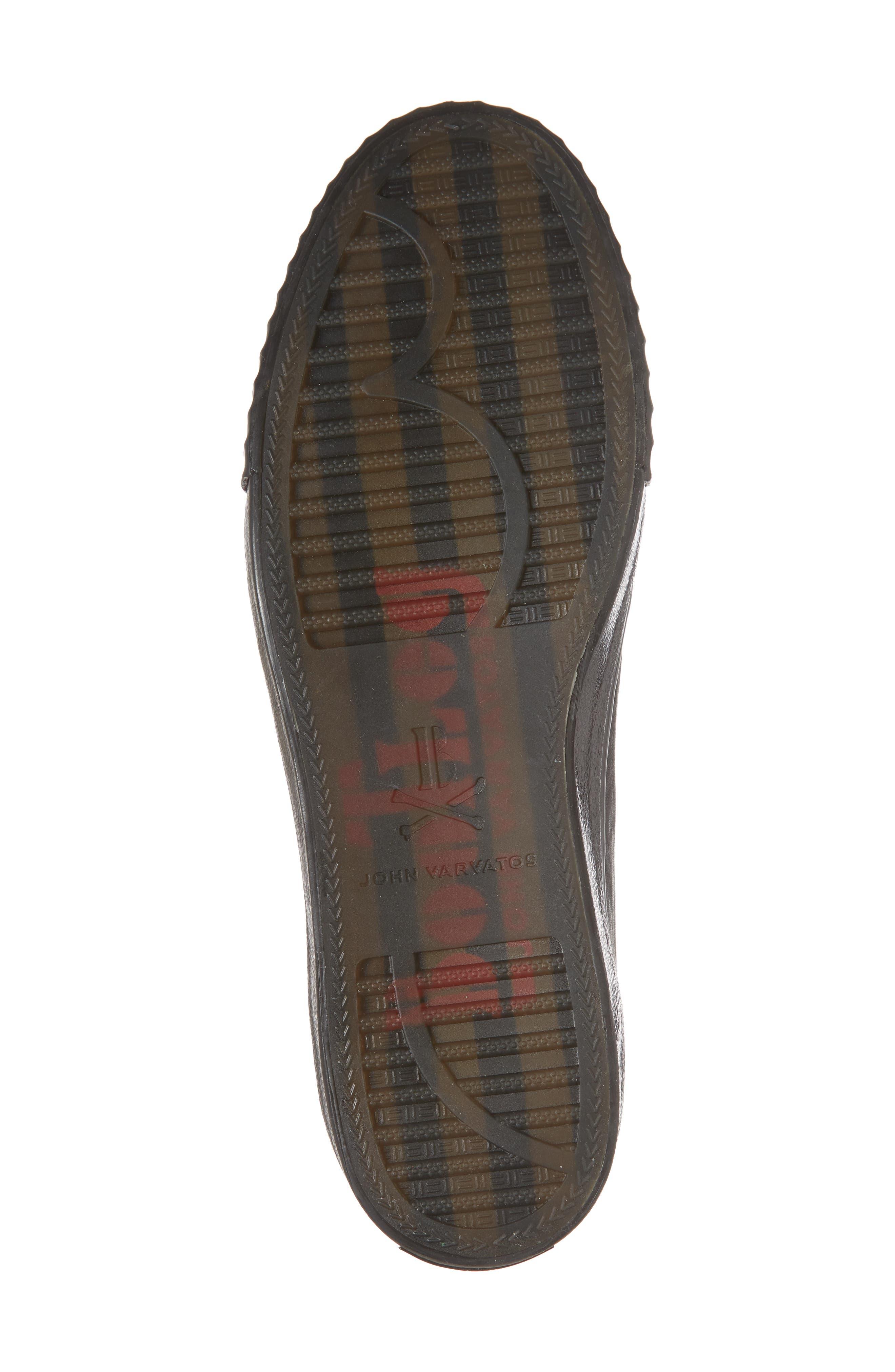 John Varvatos Star USA Bootleg Laceless Low Top Sneaker,                             Alternate thumbnail 6, color,                             BLACK LEATHER
