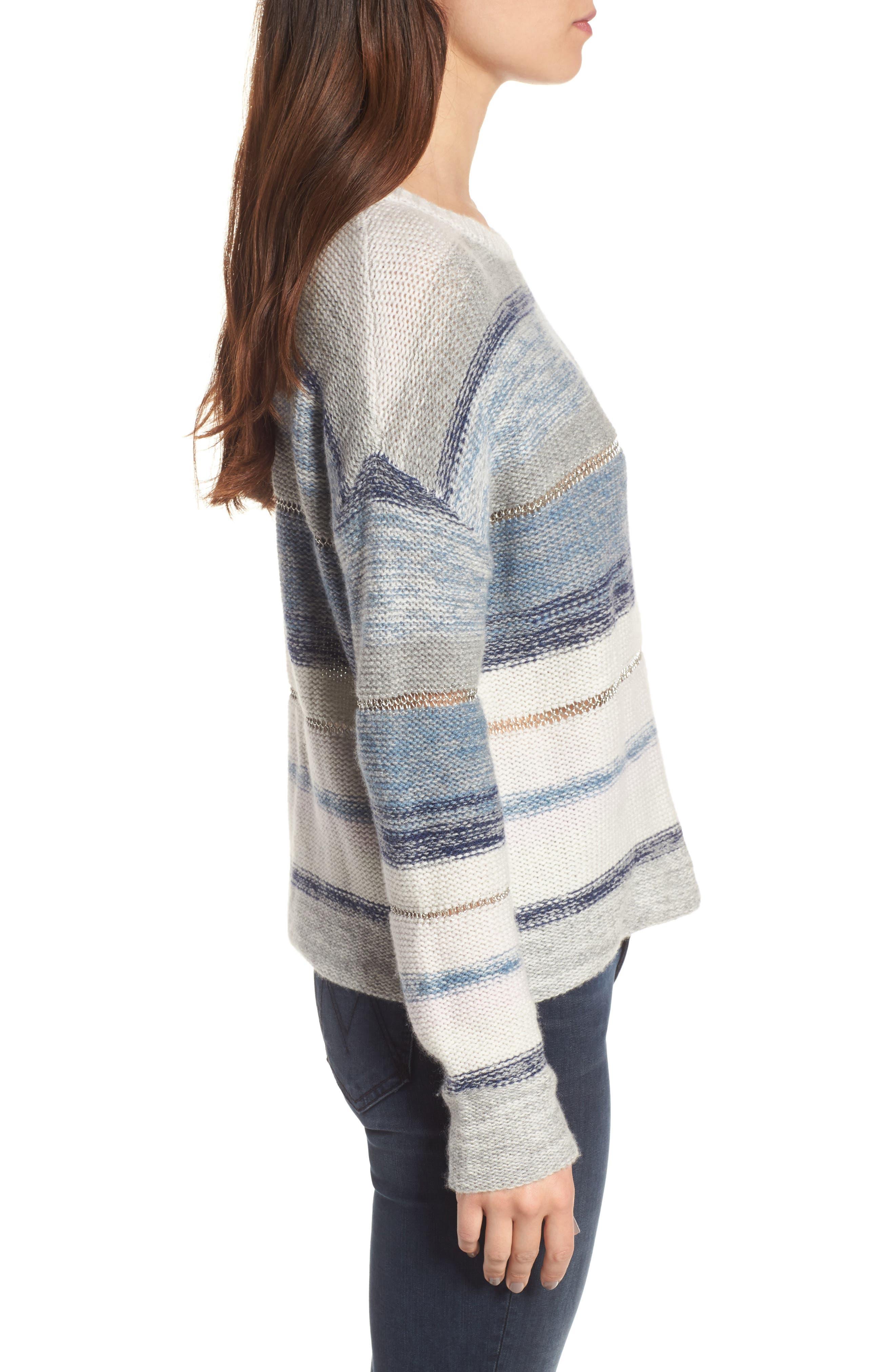 Daphne Stripe Wool & Cashmere Sweater,                             Alternate thumbnail 3, color,                             404