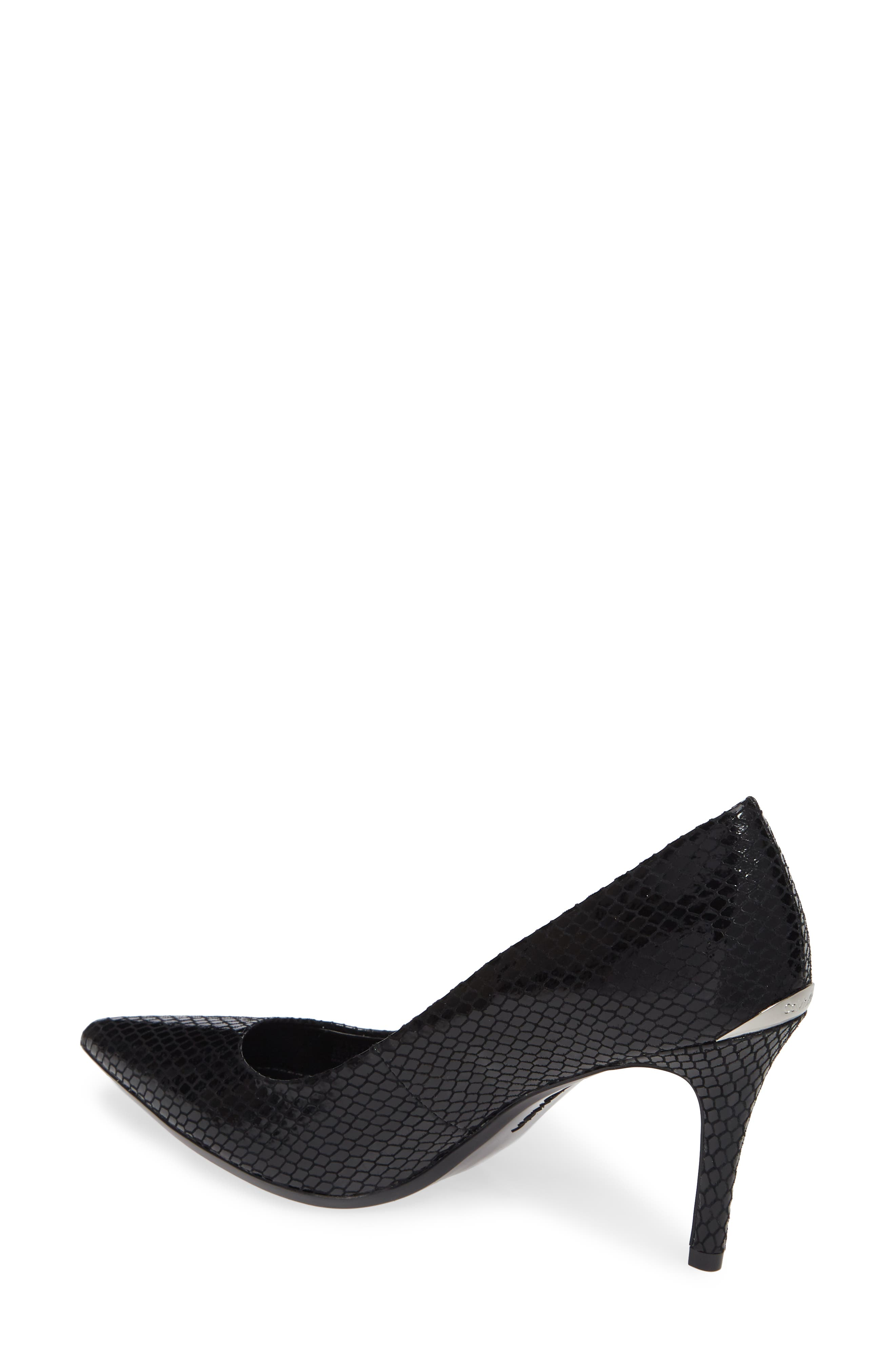 CALVIN KLEIN,                             'Gayle' Pointy Toe Pump,                             Alternate thumbnail 2, color,                             BLACK SNAKE PRINT LEATHER