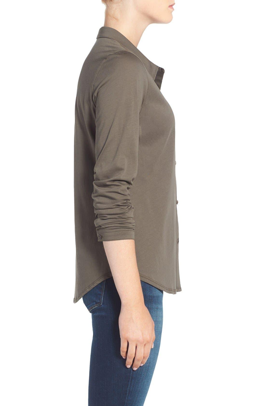 Organic Cotton Jersey Classic Collar Shirt,                             Alternate thumbnail 12, color,