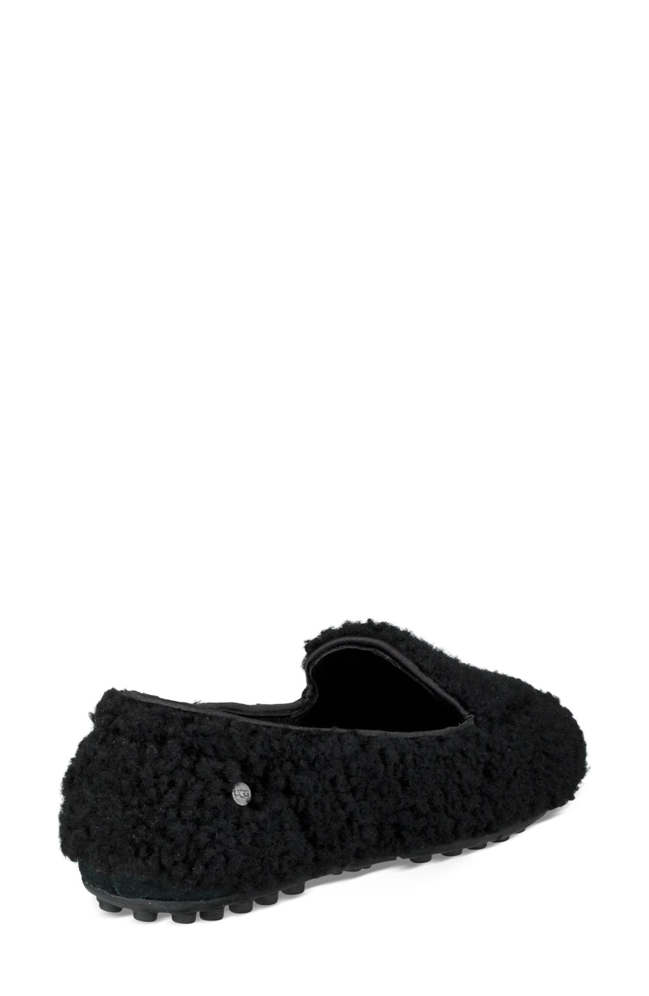 Hailey Fluff Genuine Shearling Slipper,                             Alternate thumbnail 2, color,                             BLACK