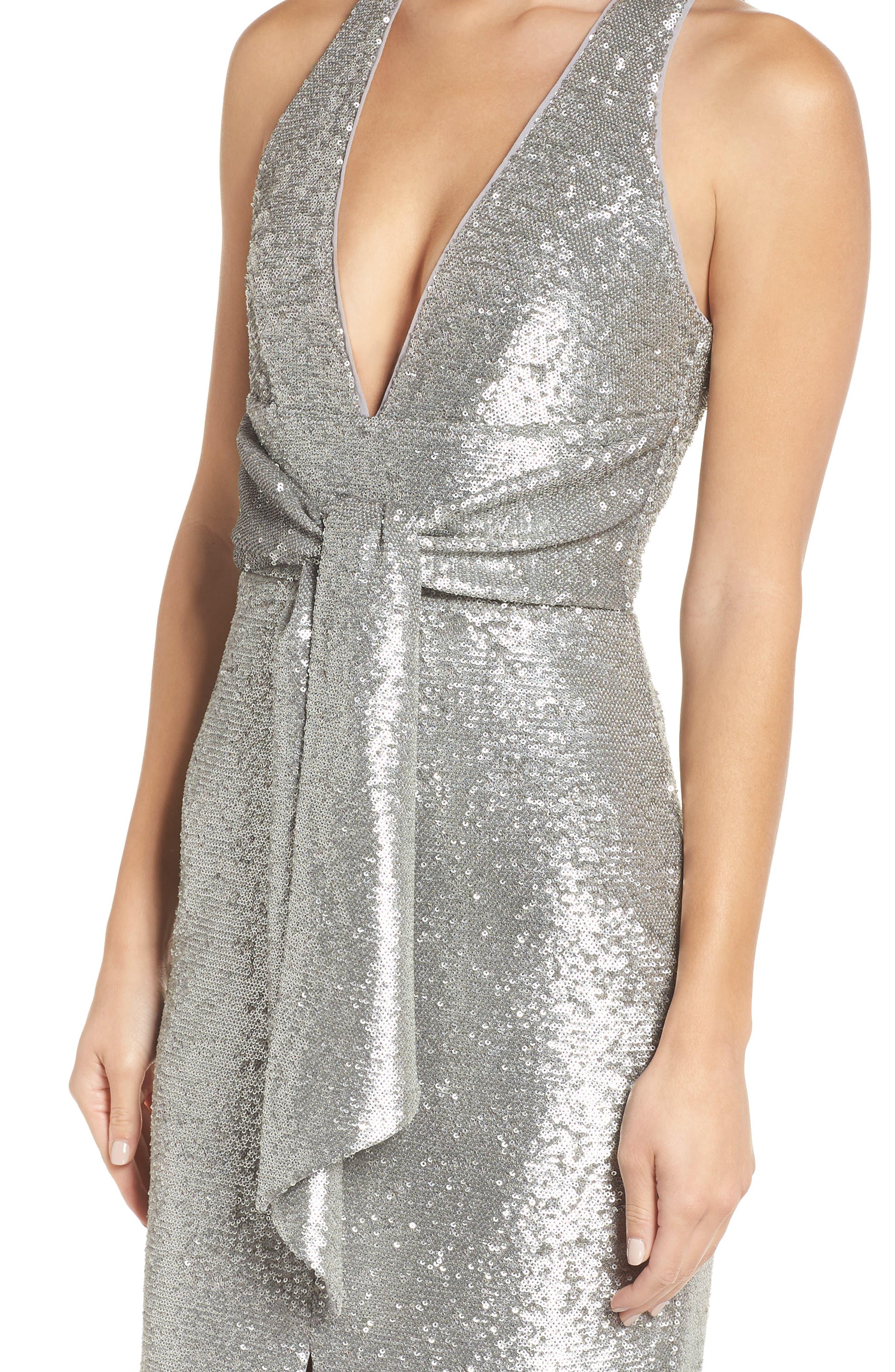 Plunge Neck Sequin Dress,                             Alternate thumbnail 4, color,                             MATTE SILVER