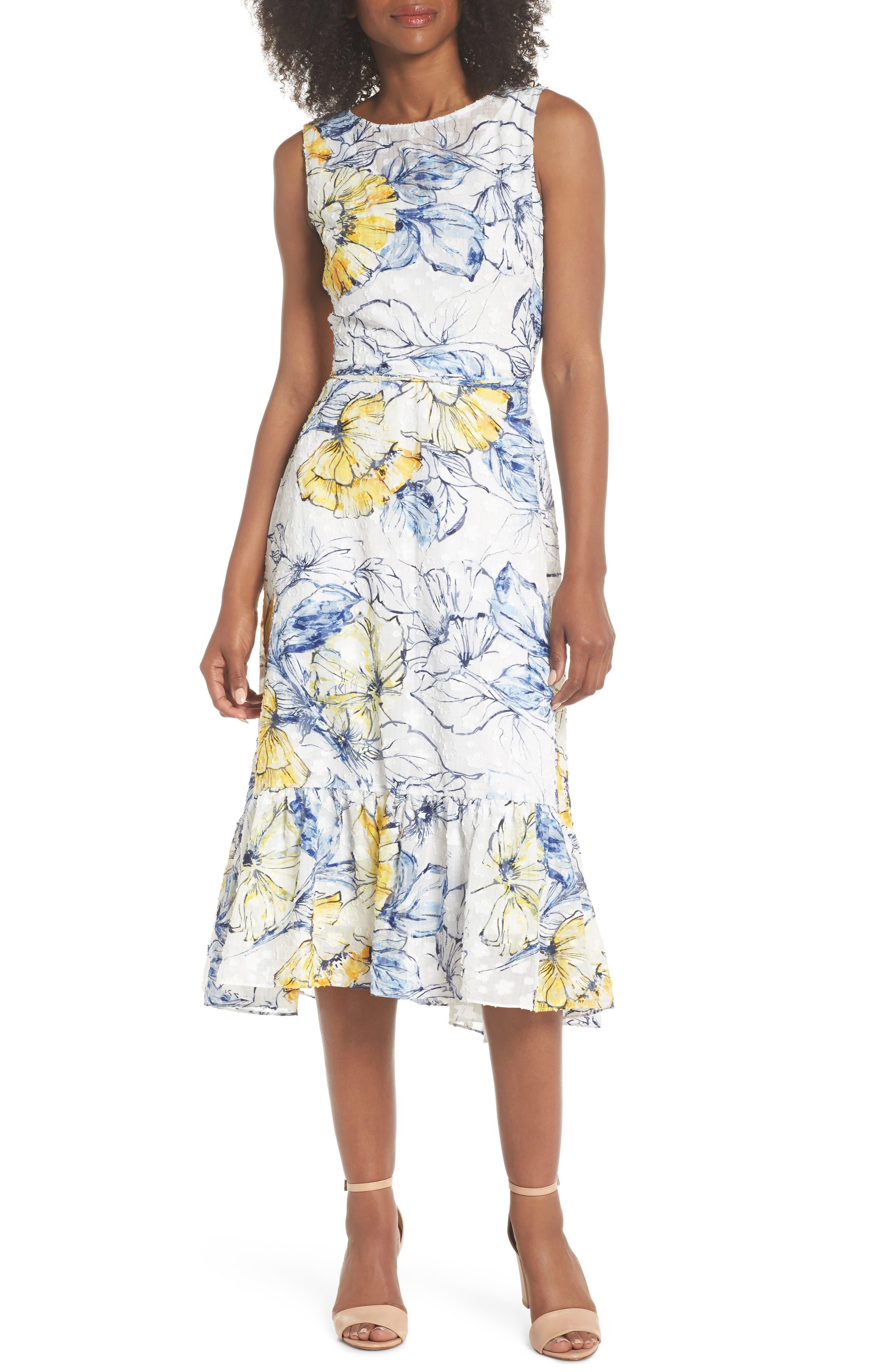 Floral Print Midi Dress,                         Main,                         color, 461