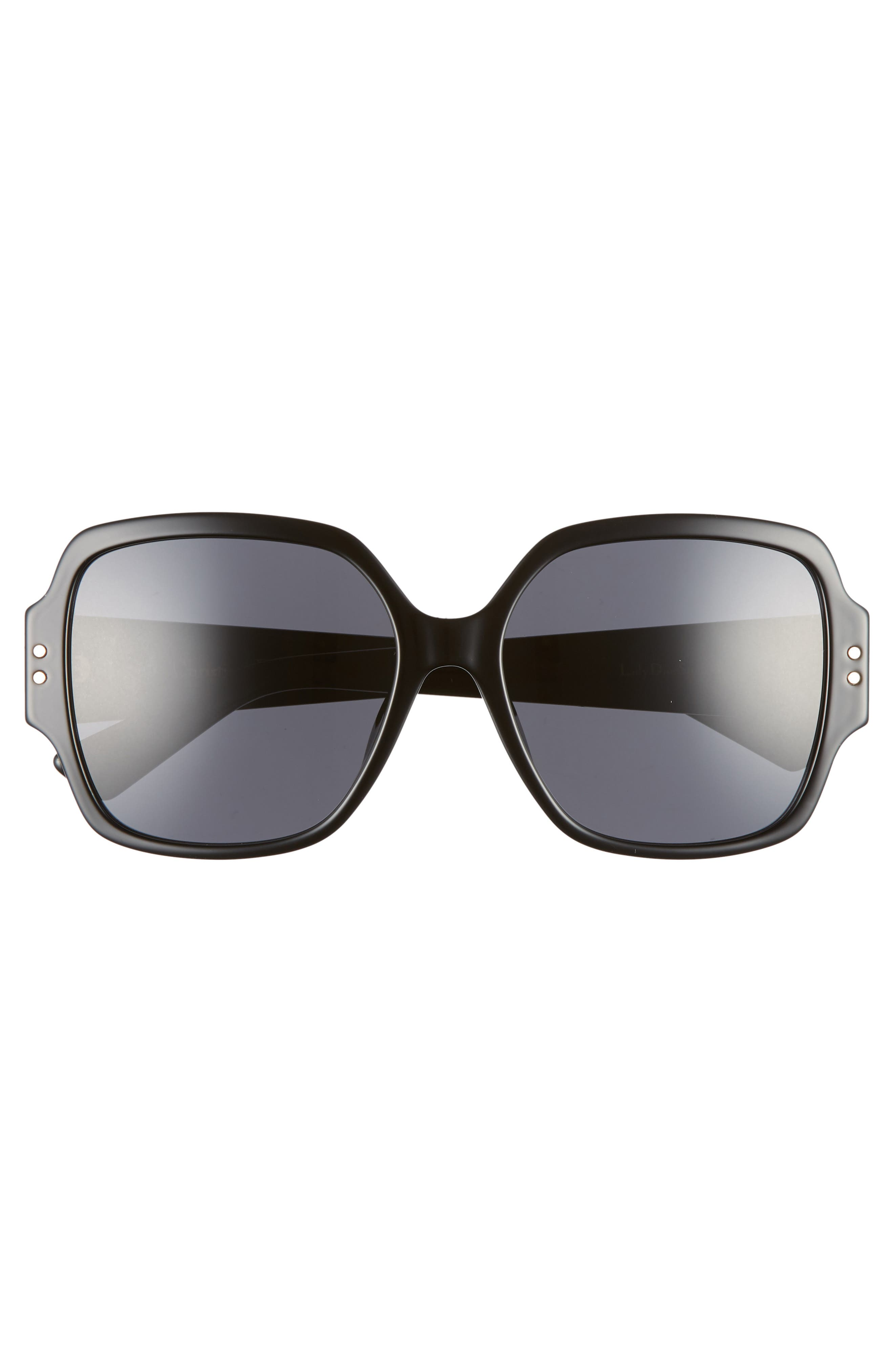 DIOR,                             Lady Dior Stud 57mm Special Fit Square Sunglasses,                             Alternate thumbnail 3, color,                             BLACK