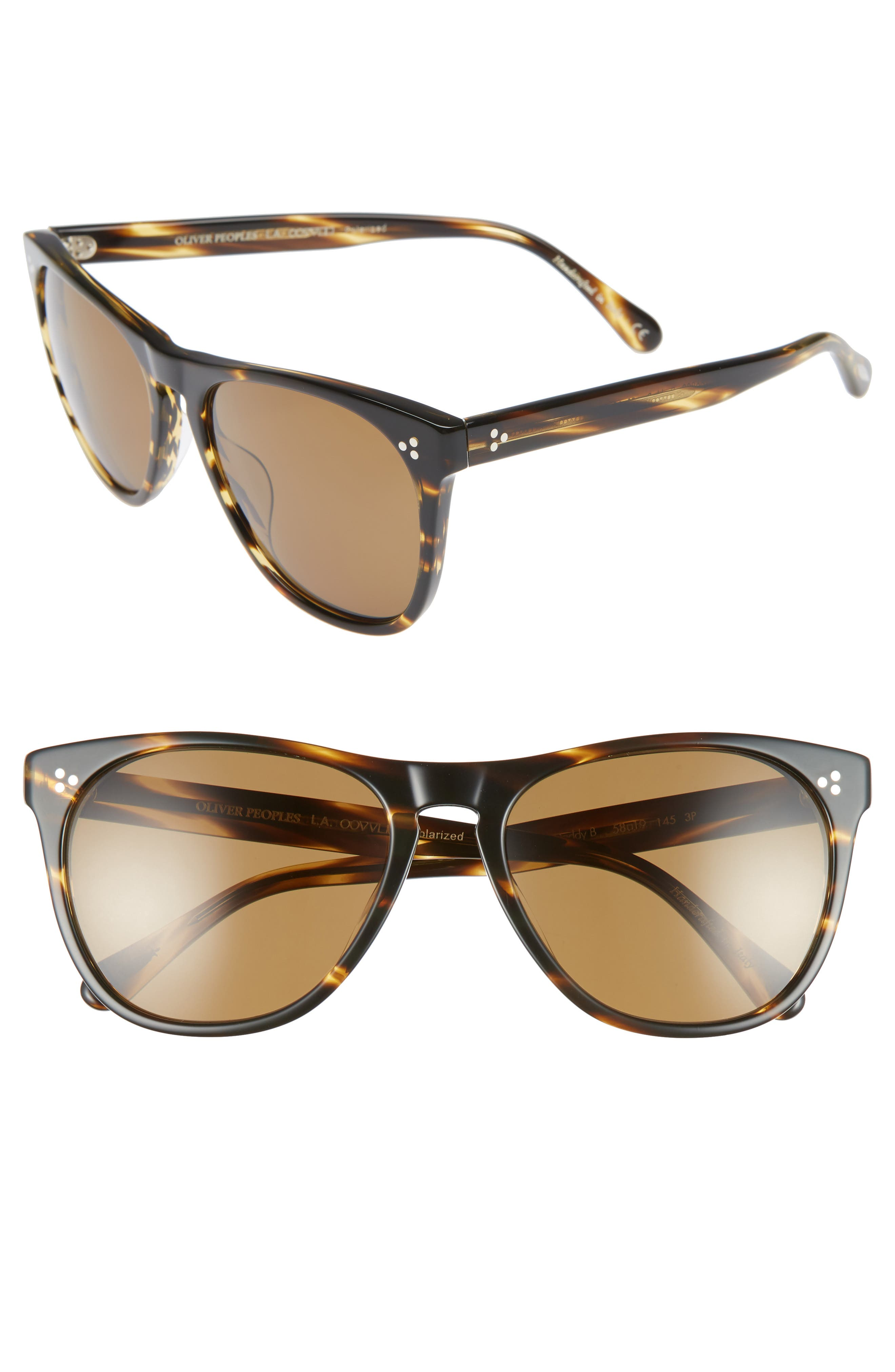 OLIVER PEOPLES Women'S Daddy B Polarized Square Sunglasses, 58Mm in Cocobolo