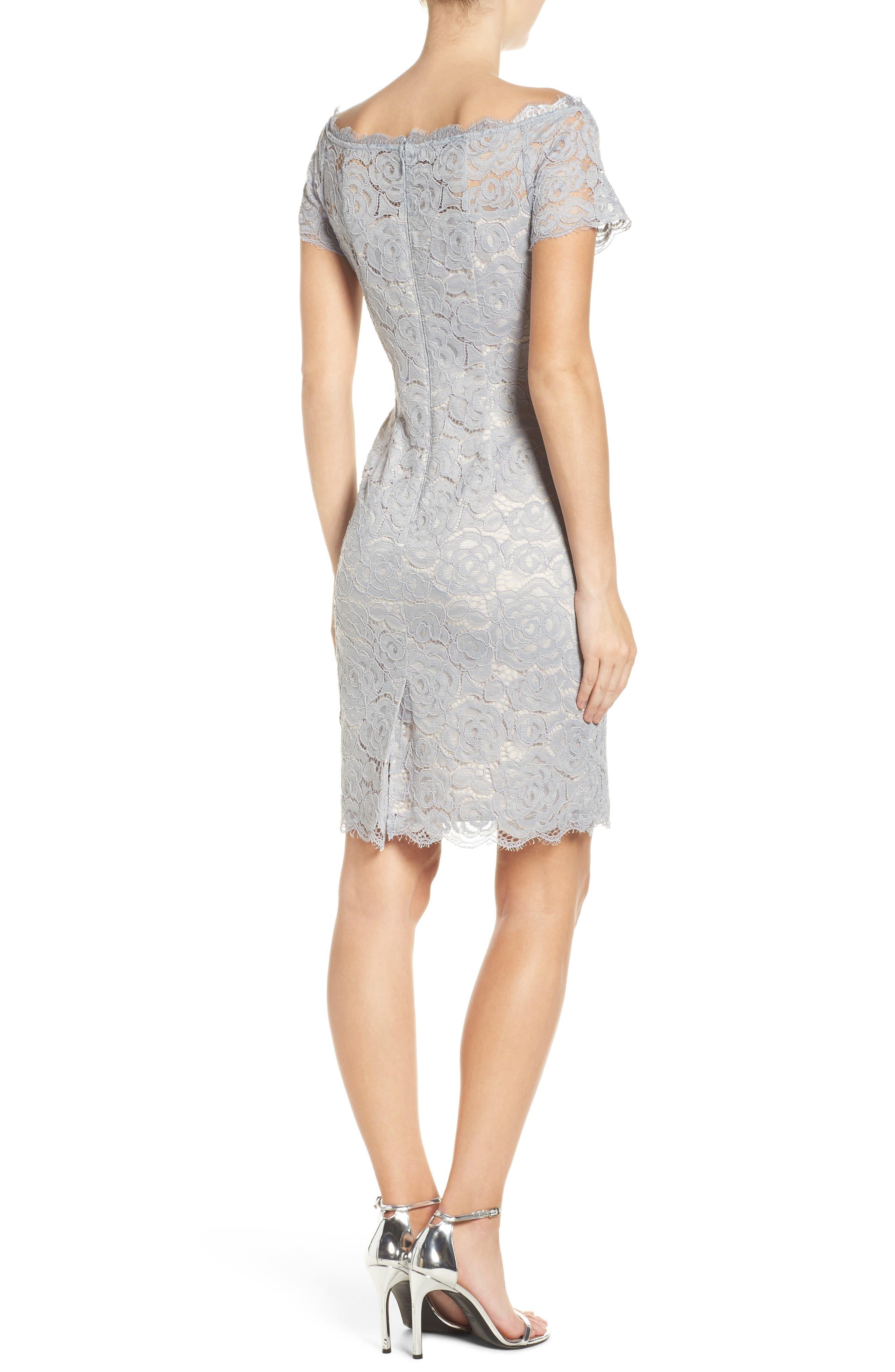 Off the Shoulder Lace Sheath Dress,                             Alternate thumbnail 15, color,
