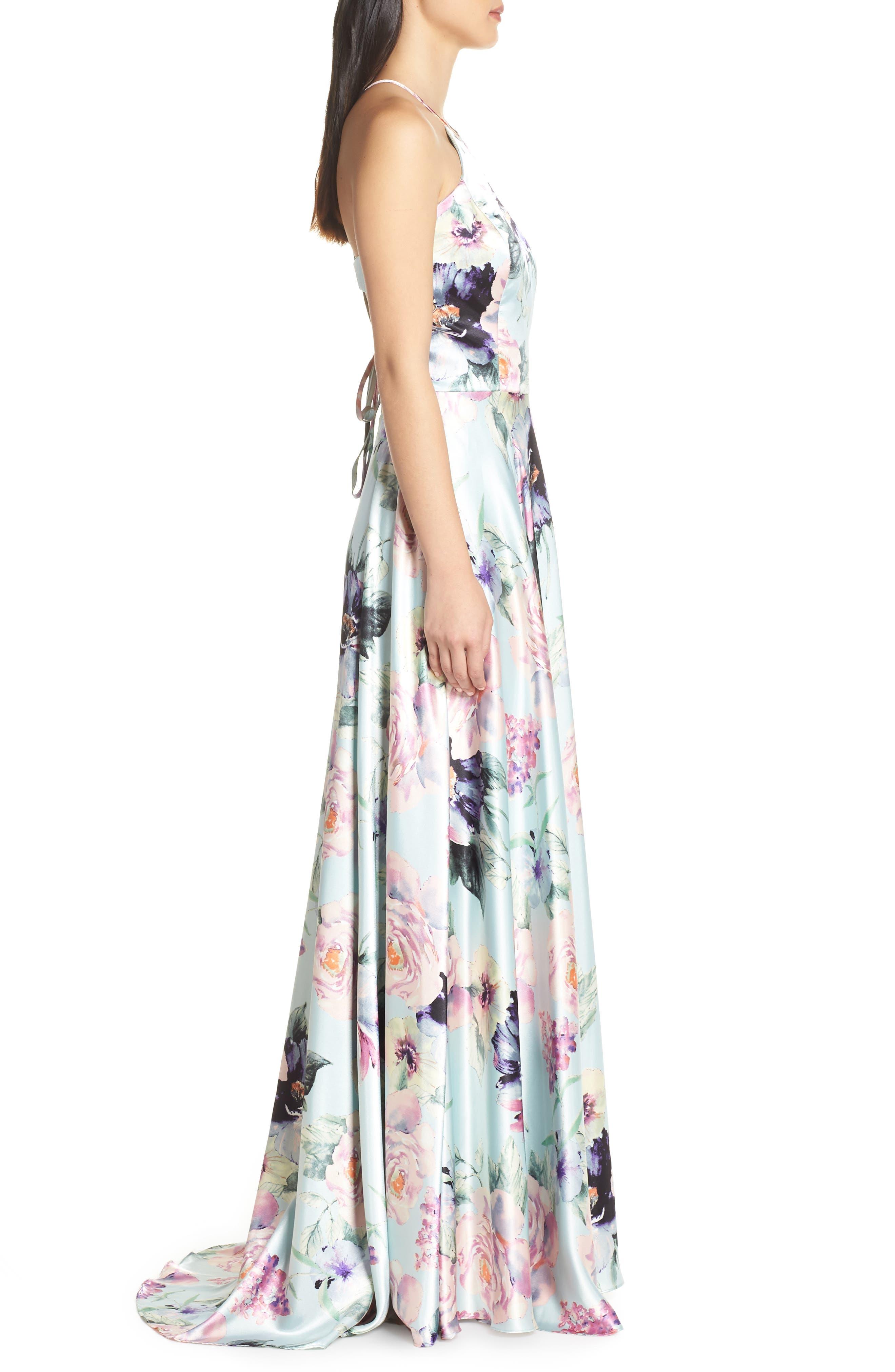 BLONDIE NITES,                             Floral Print Charmeuse Evening Dress,                             Alternate thumbnail 3, color,                             MINT/ MULTI