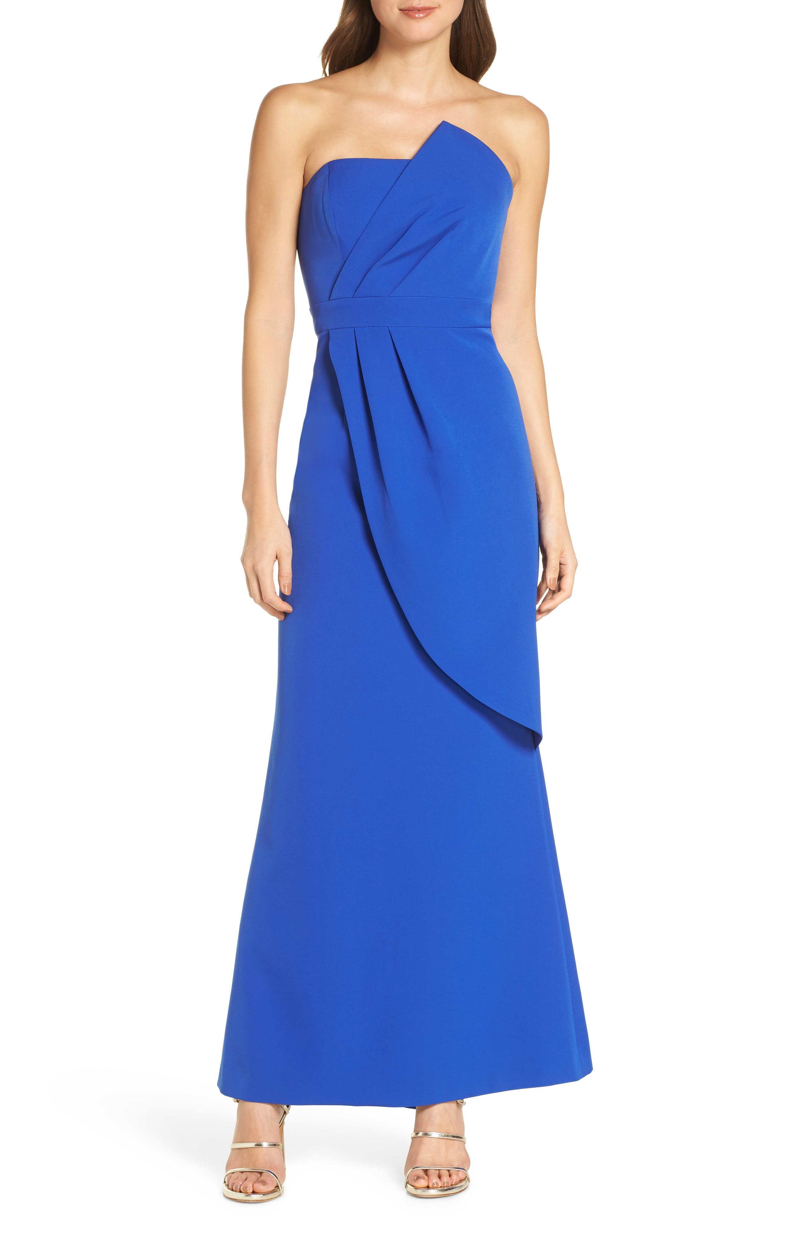Vince Camuto Strapless Faux Wrap Evening Dress, Blue