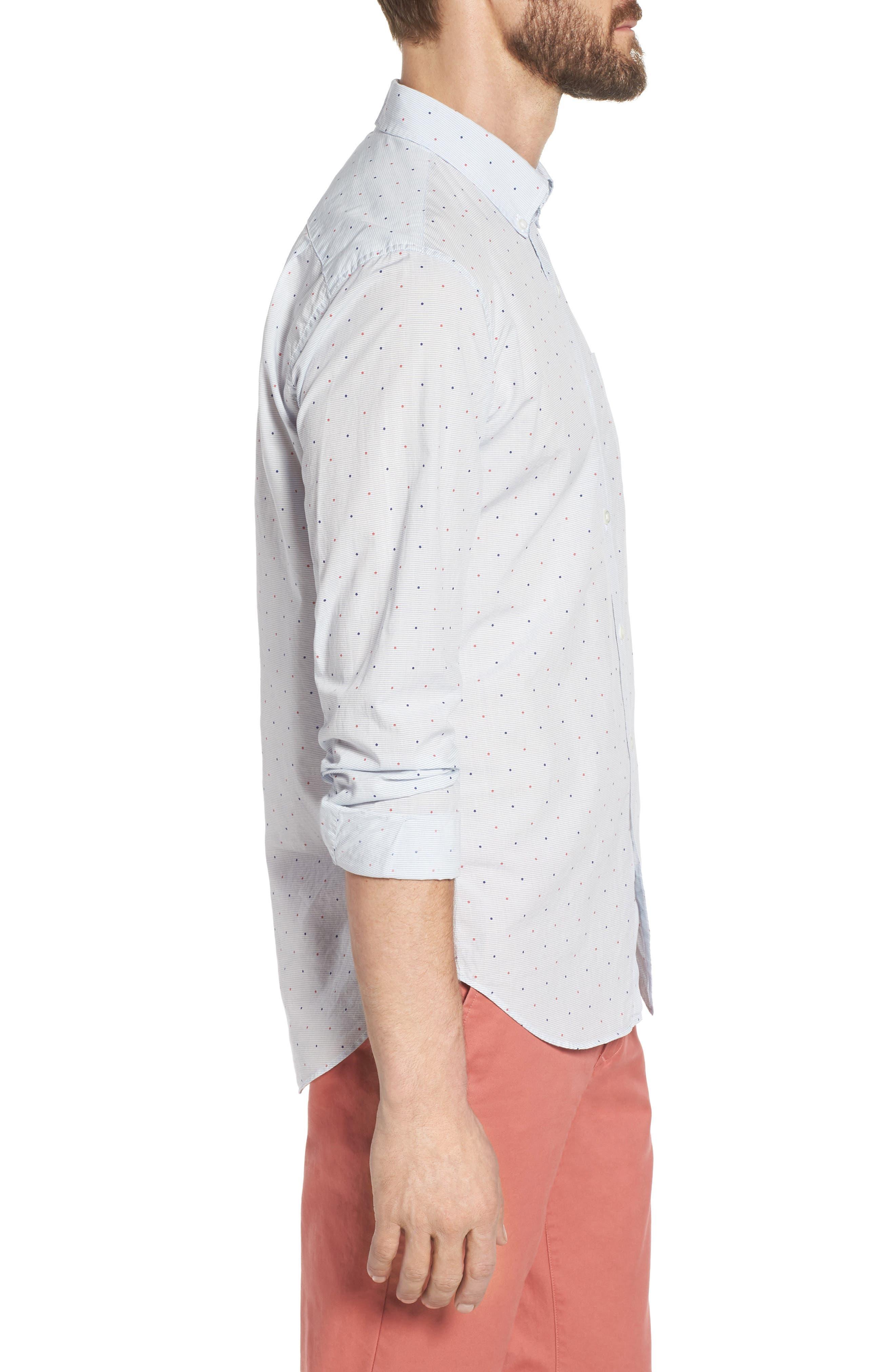 Slim Fit Dot Sport Shirt,                             Alternate thumbnail 3, color,                             400