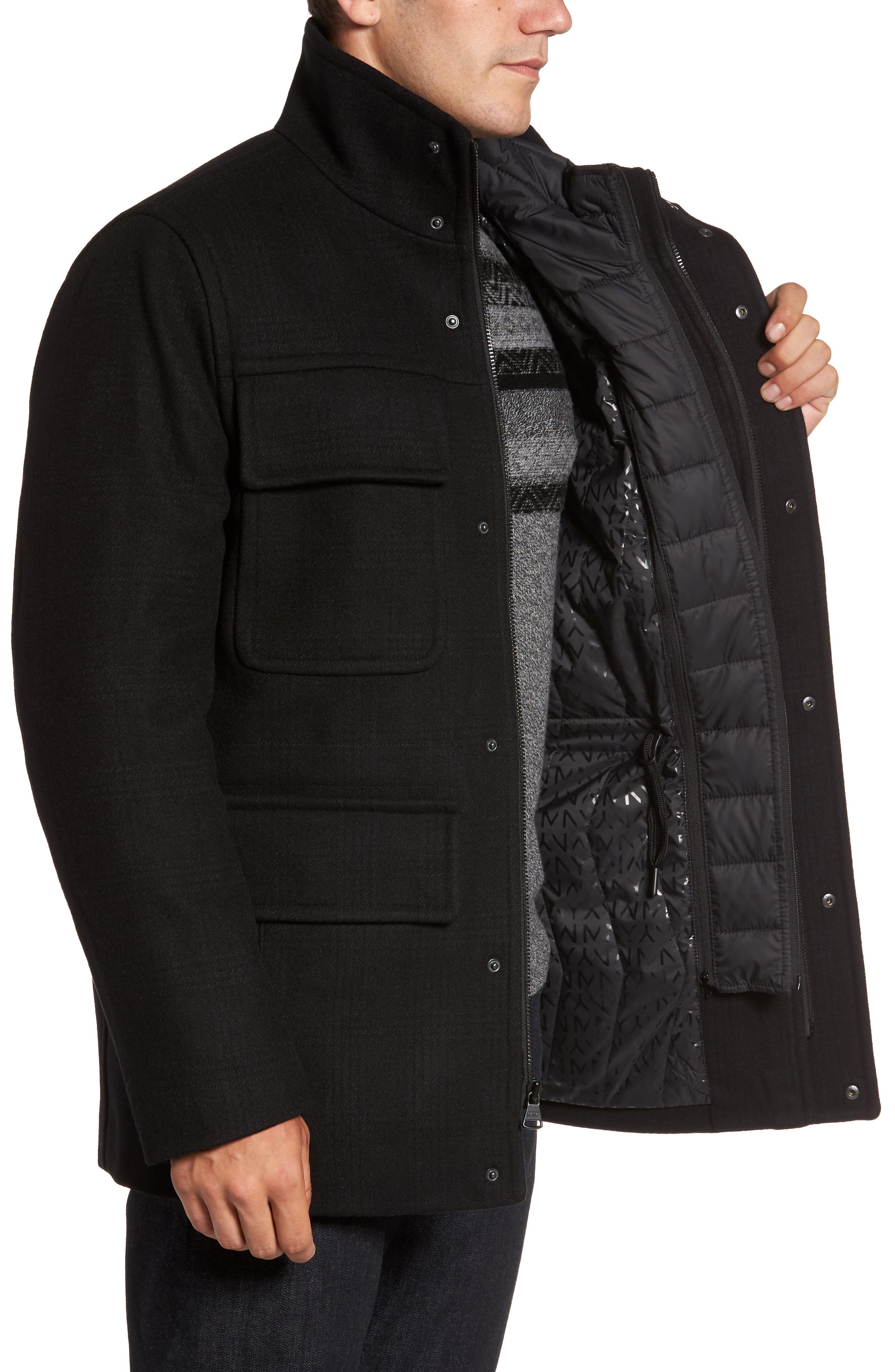 MARC NEW YORK,                             Shadow Plaid Wool Blend Jacket with Detachable Insert,                             Alternate thumbnail 3, color,                             001
