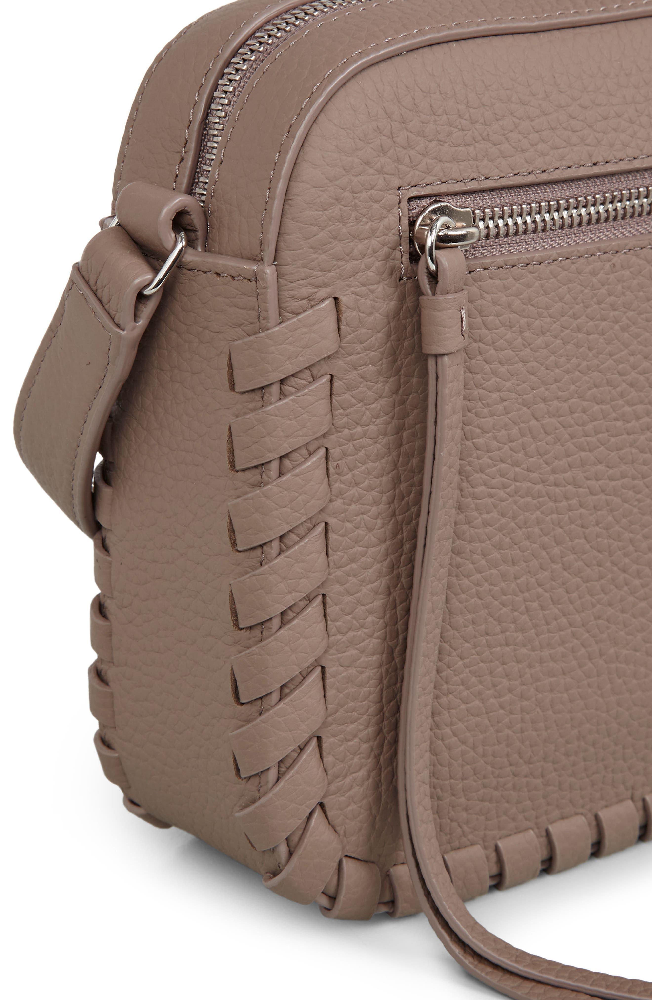 Kepi Mini Leather Crossbody Bag,                             Alternate thumbnail 7, color,                             ALMOND BROWN